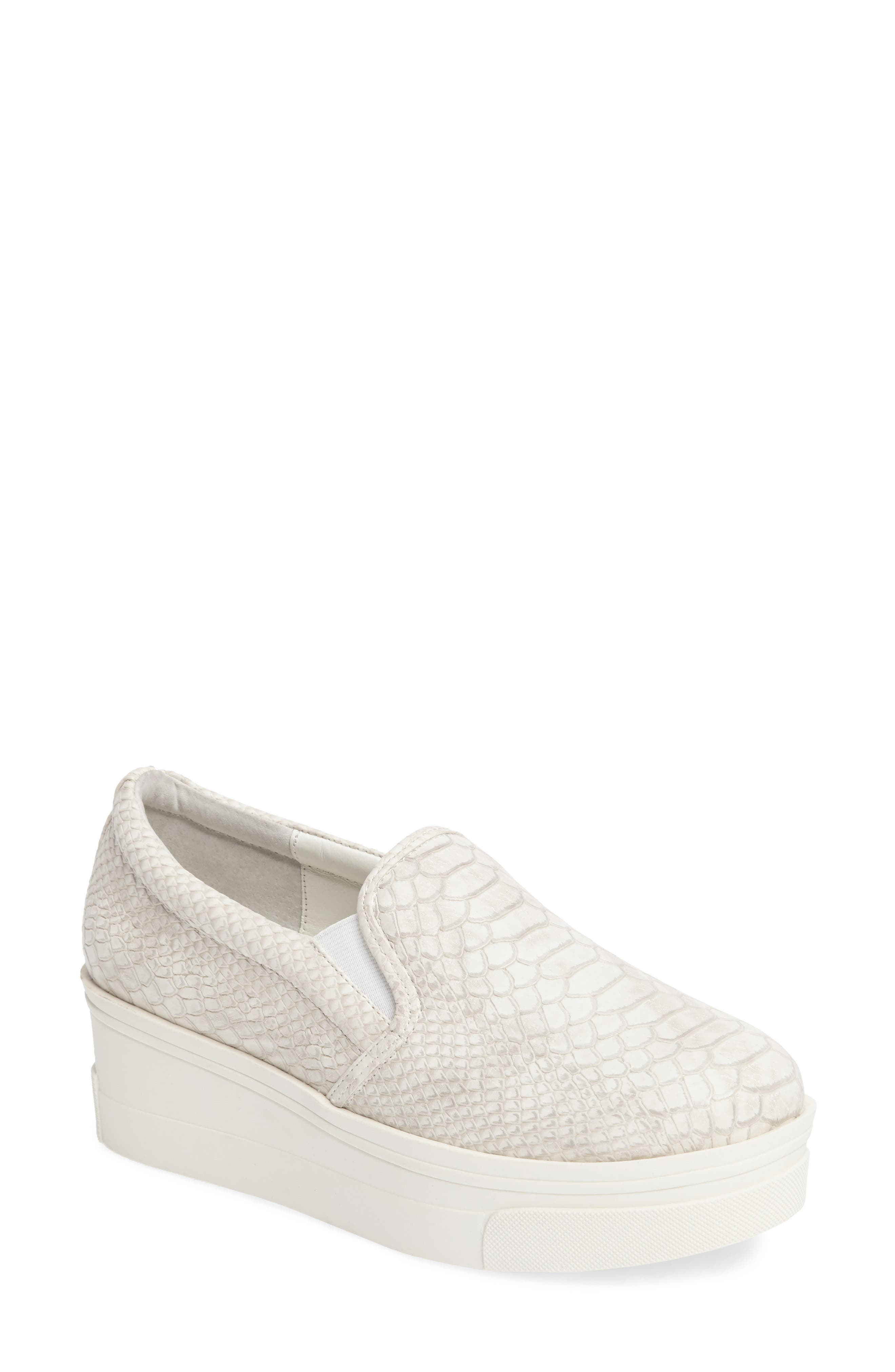 Genna Slip-On Sneaker,                             Main thumbnail 1, color,                             White Embossed Leather