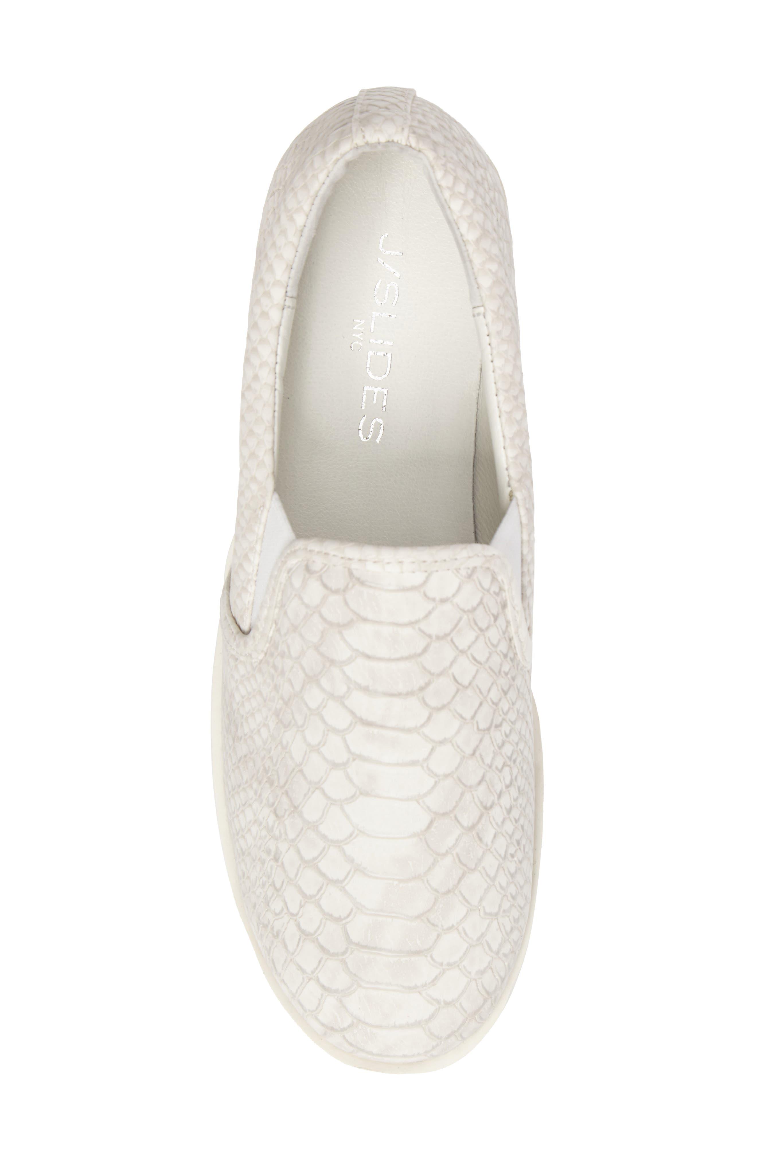 Genna Slip-On Sneaker,                             Alternate thumbnail 5, color,                             White Embossed Leather