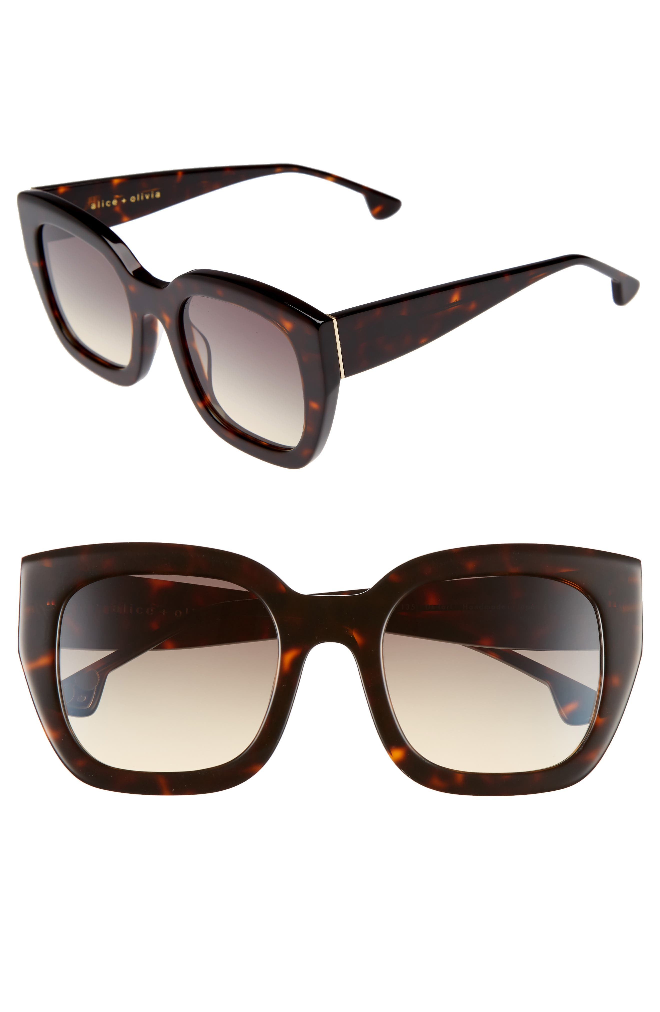Main Image - Alice + Olivia Aberdeen 50mm Square Sunglasses
