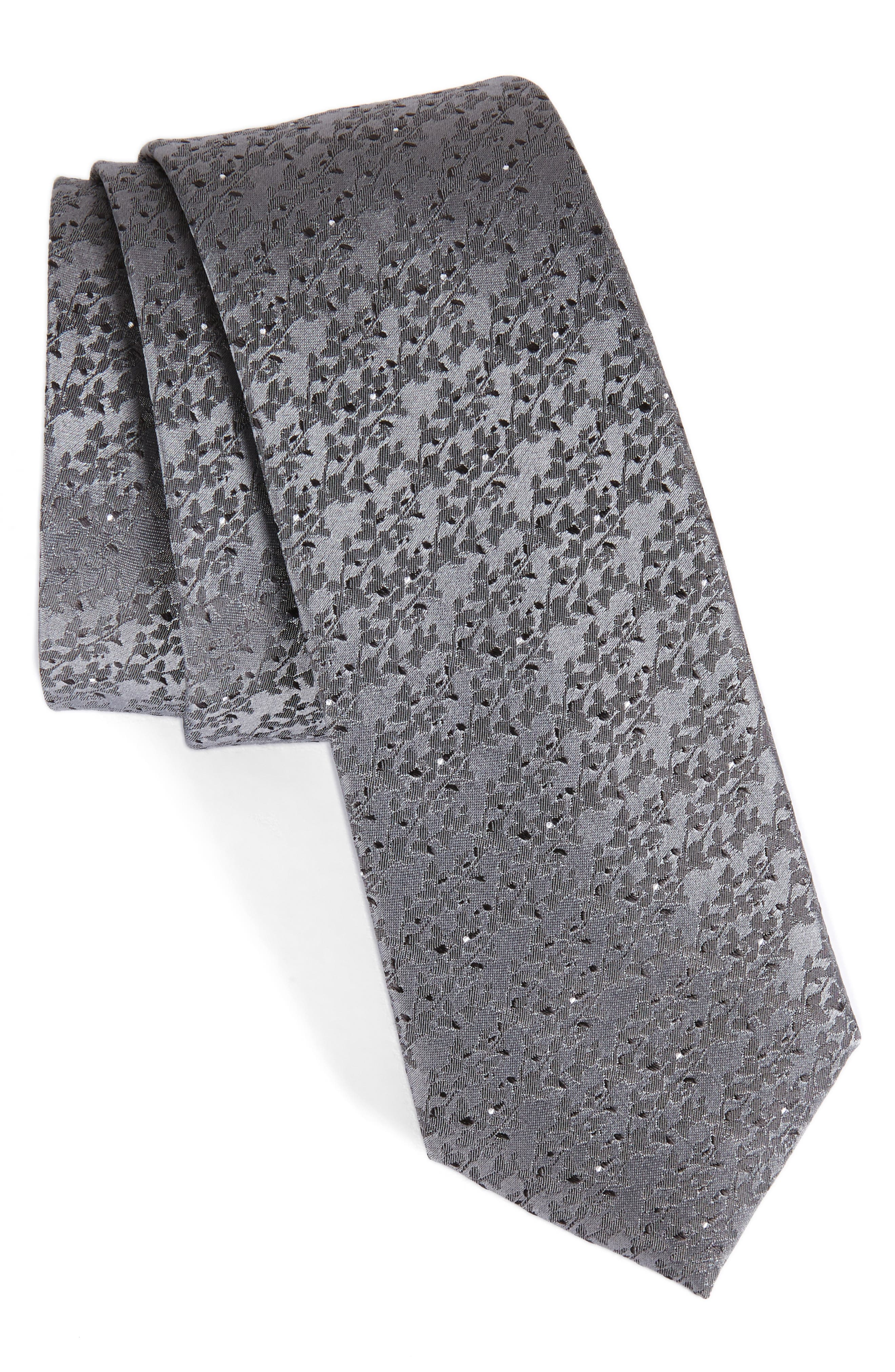 Mini Wild Flower Silk Tie,                         Main,                         color, Charcoal