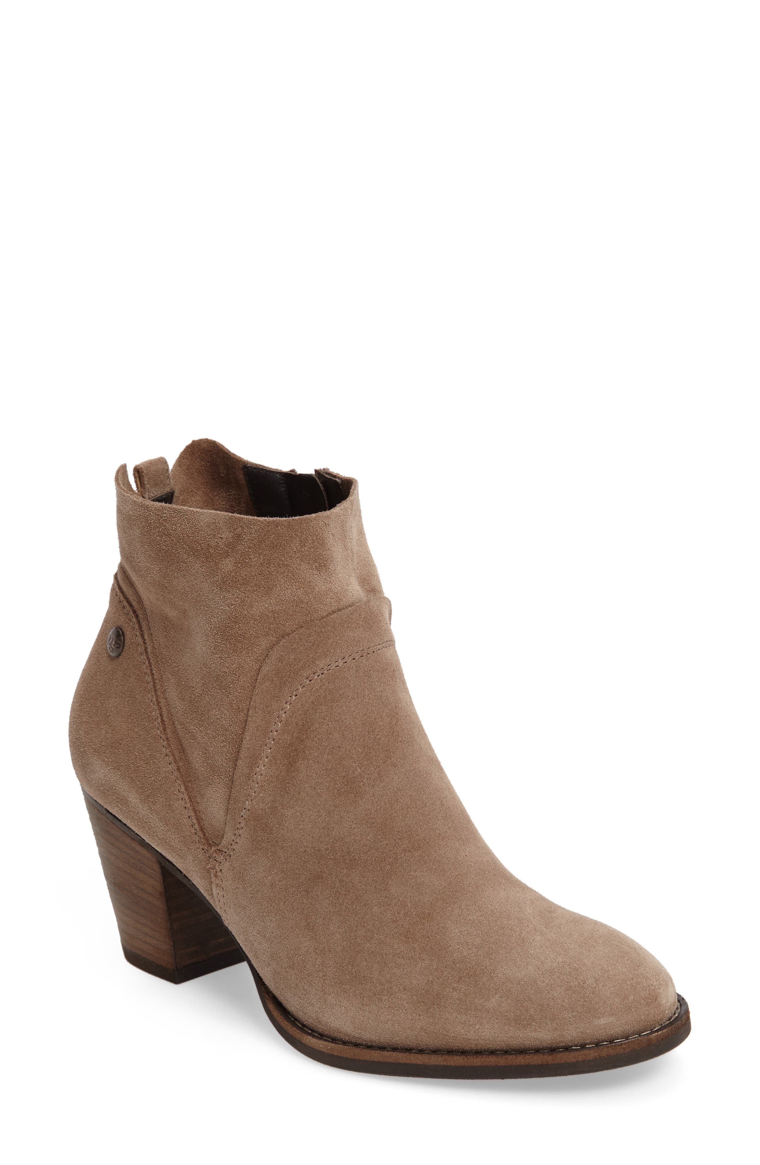 Nora Water Resistant Bootie,                             Main thumbnail 1, color,                             Antelope Hydro Suede