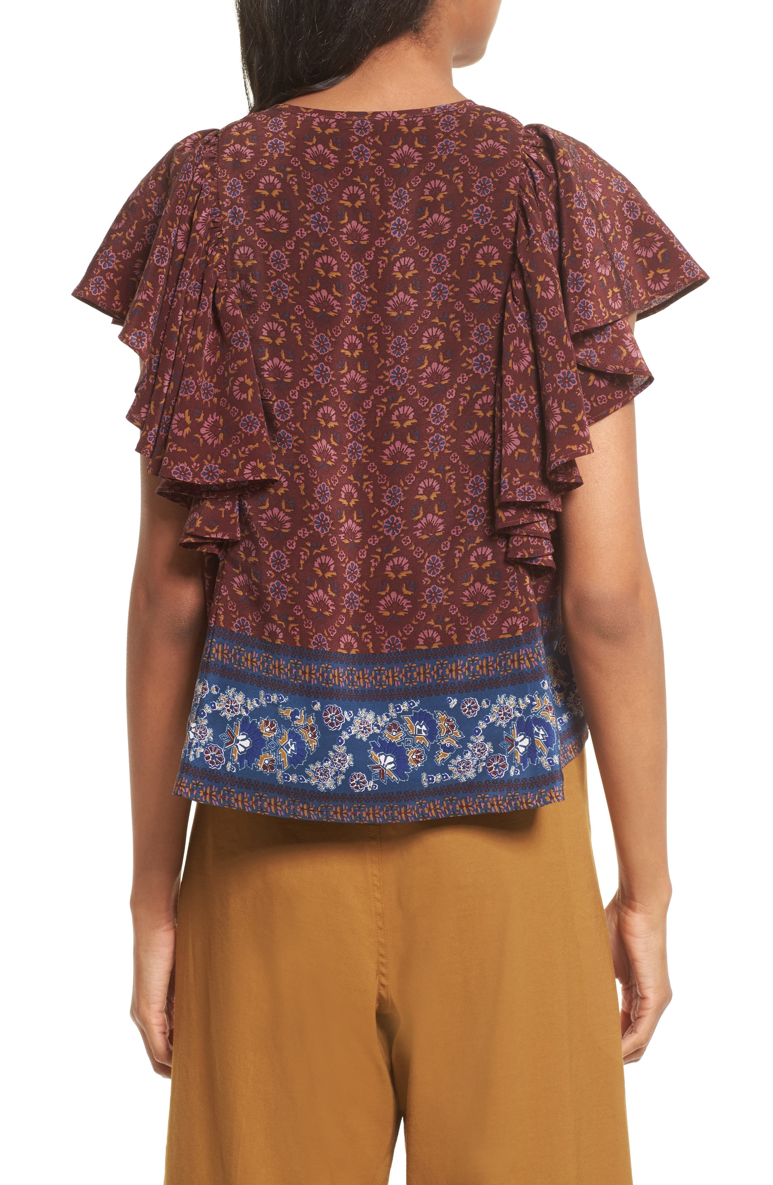 Alternate Image 2  - Sea Ruffle Sleeve Silk Top