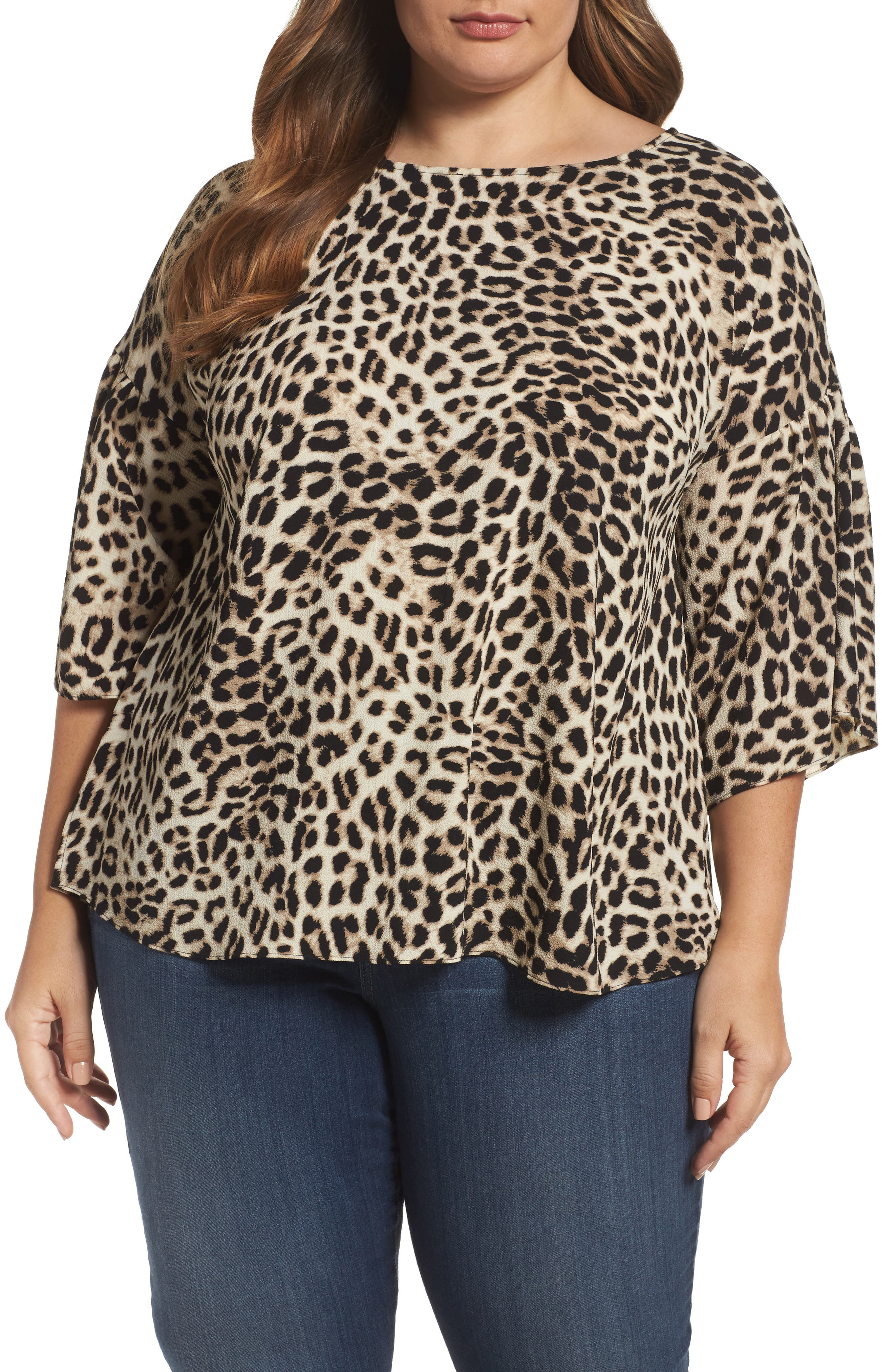 Vince Camuto Leopard Song Bell Sleeve Blouse (Plus Size)