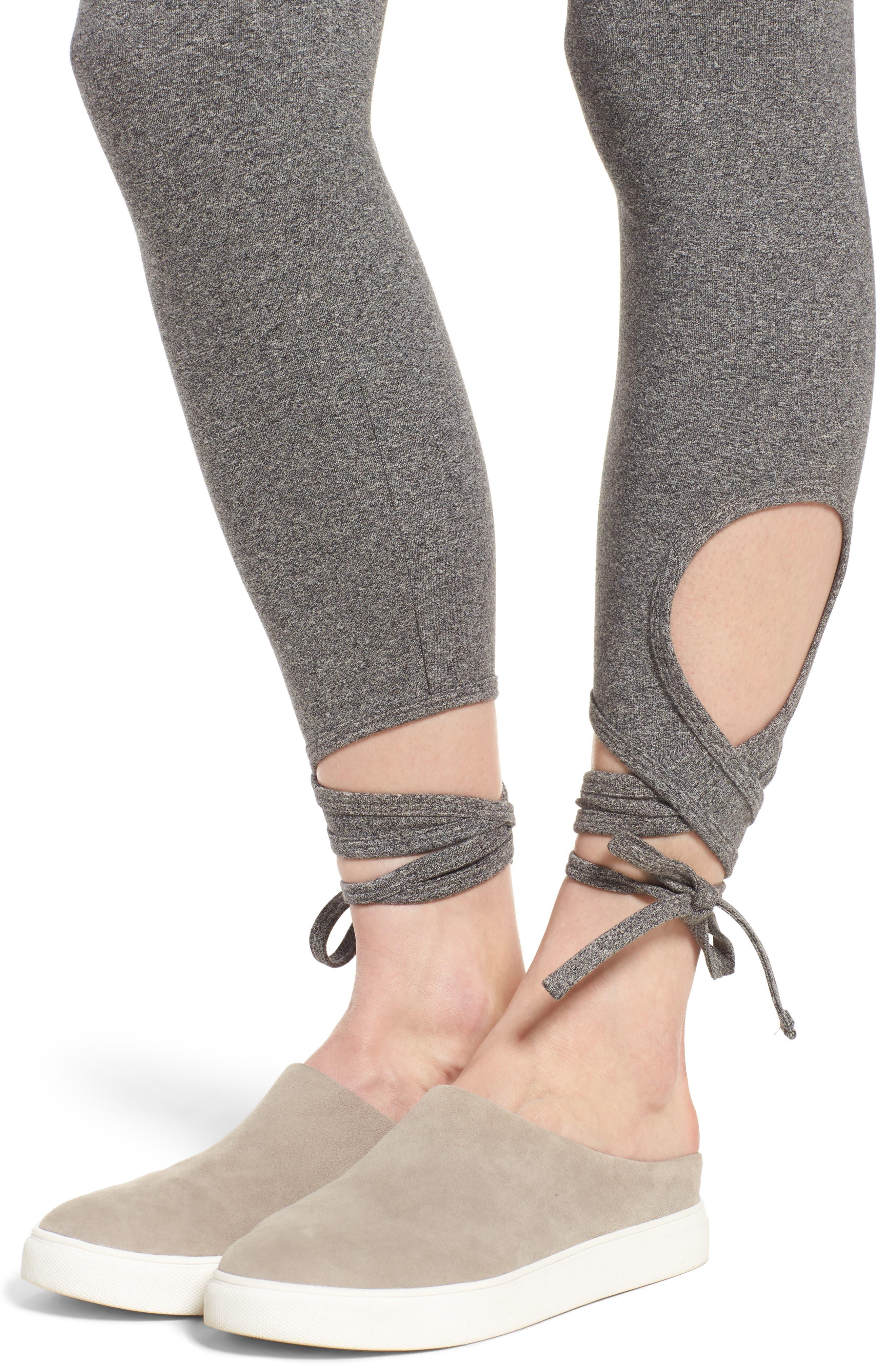 High Rise Wrap Ankle Leggings,                             Alternate thumbnail 4, color,                             Salt And Pepper