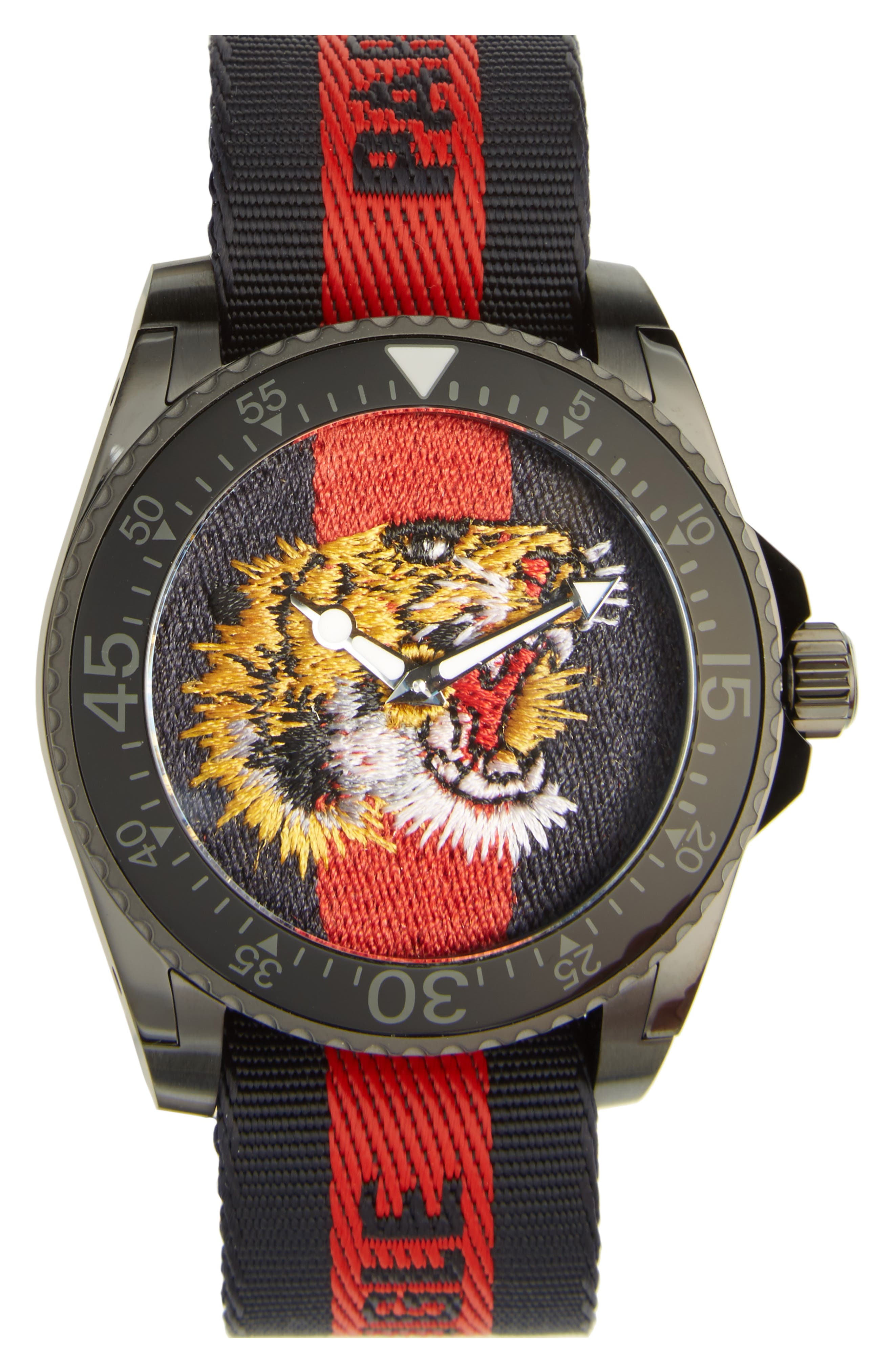 Main Image - Gucci Tiger Insignia Web Strap Watch, 45mm
