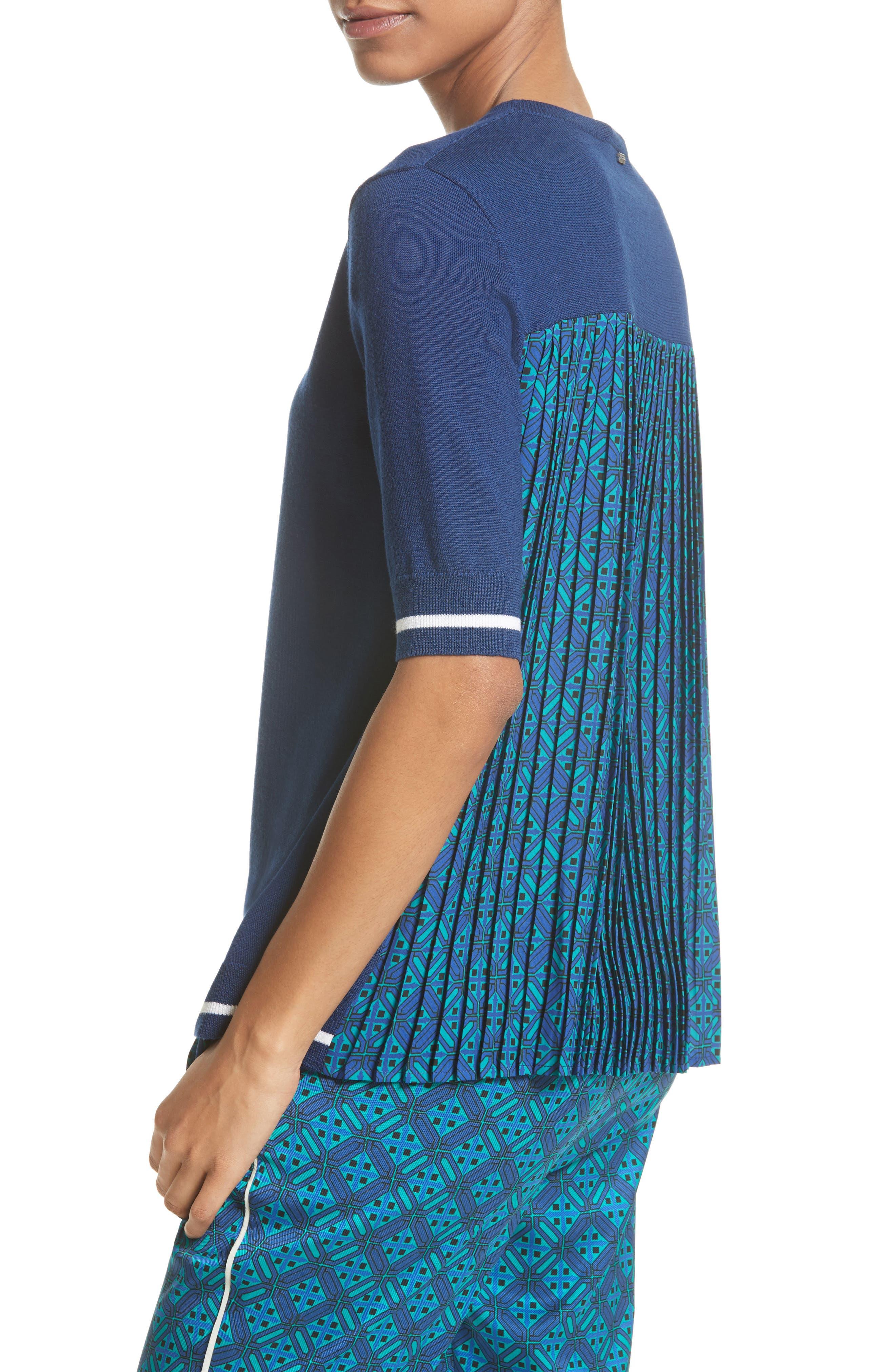 Sarita Tile Print Jersey Knit Sweater,                             Alternate thumbnail 6, color,                             Azurite Multi