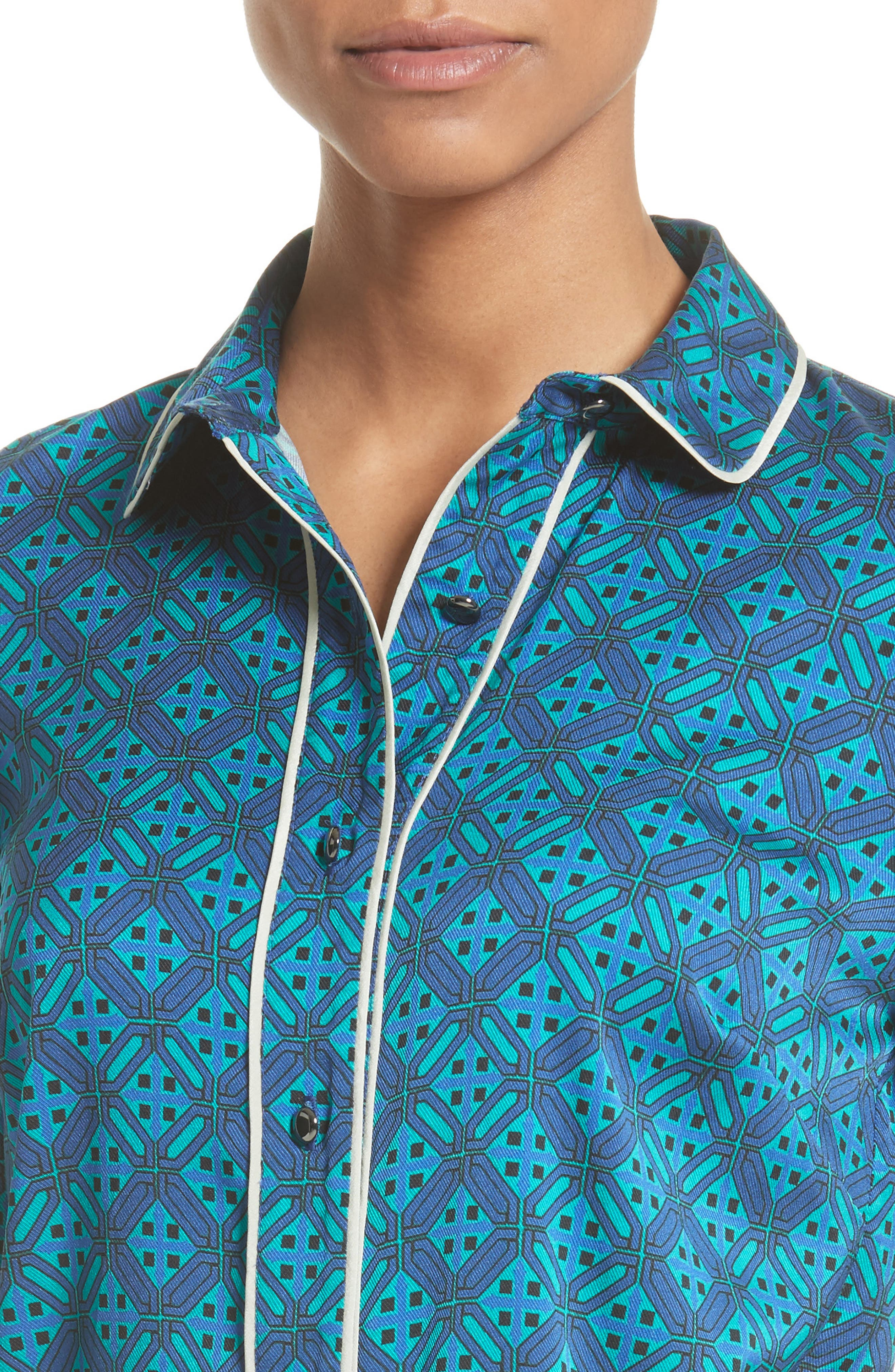 Ratan Tile Print Stretch Silk Top,                             Alternate thumbnail 4, color,                             Azurite Multi