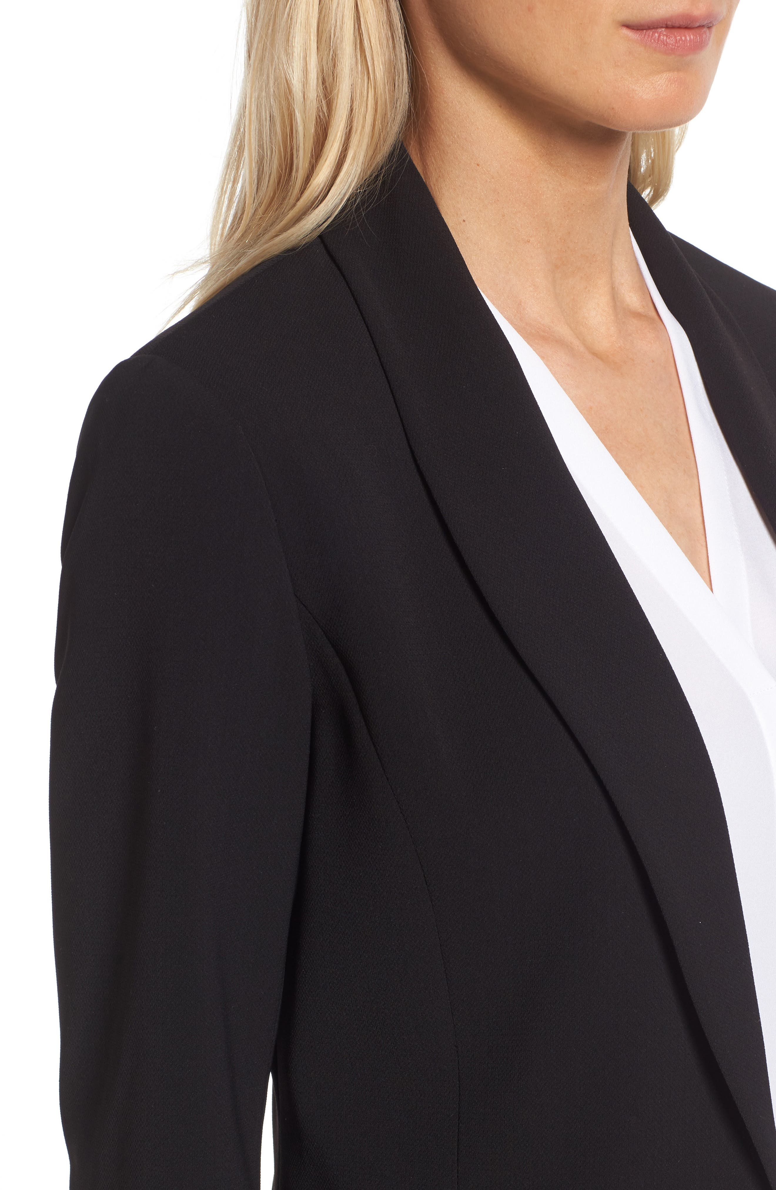 Texture Base Blazer,                             Alternate thumbnail 4, color,                             Rich Black
