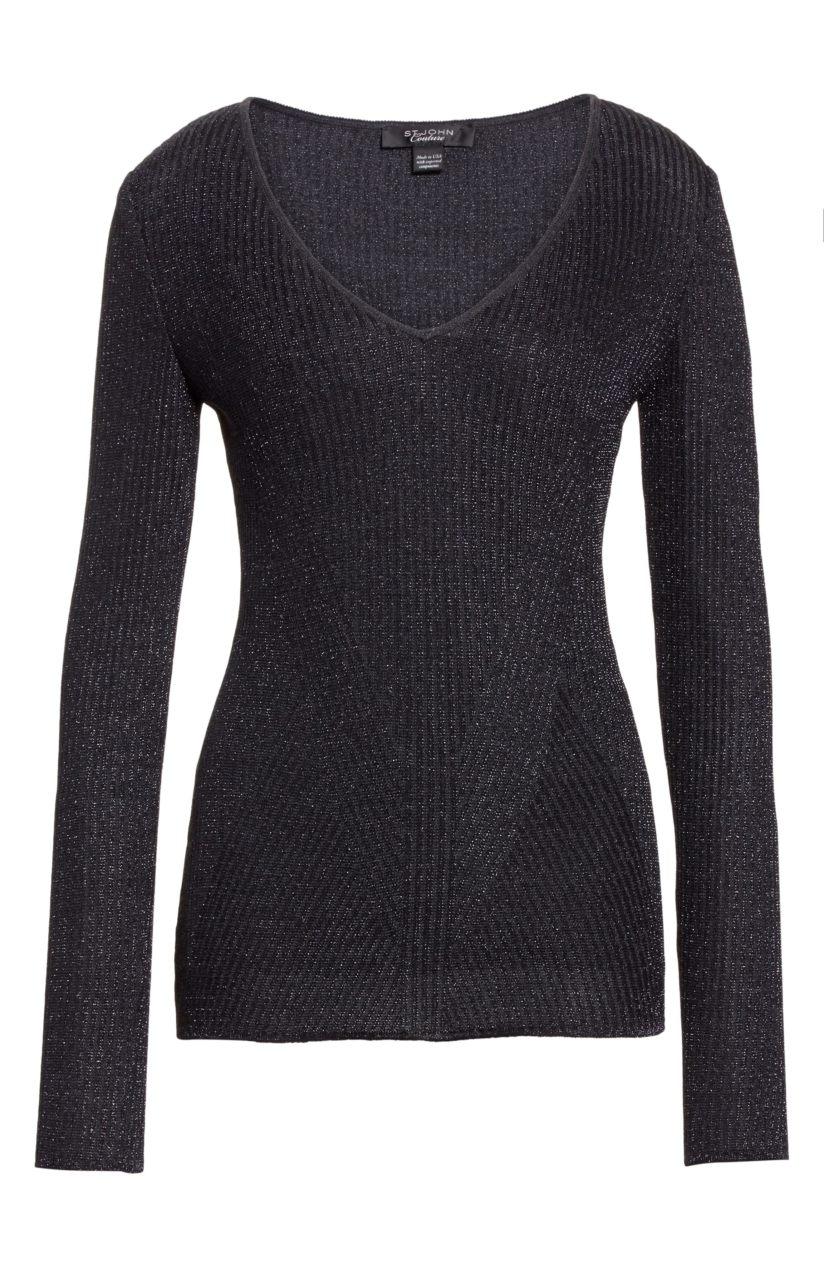Alternate Image 6  - St. John Collection Engineered Rib Sparkle Knit Sweater