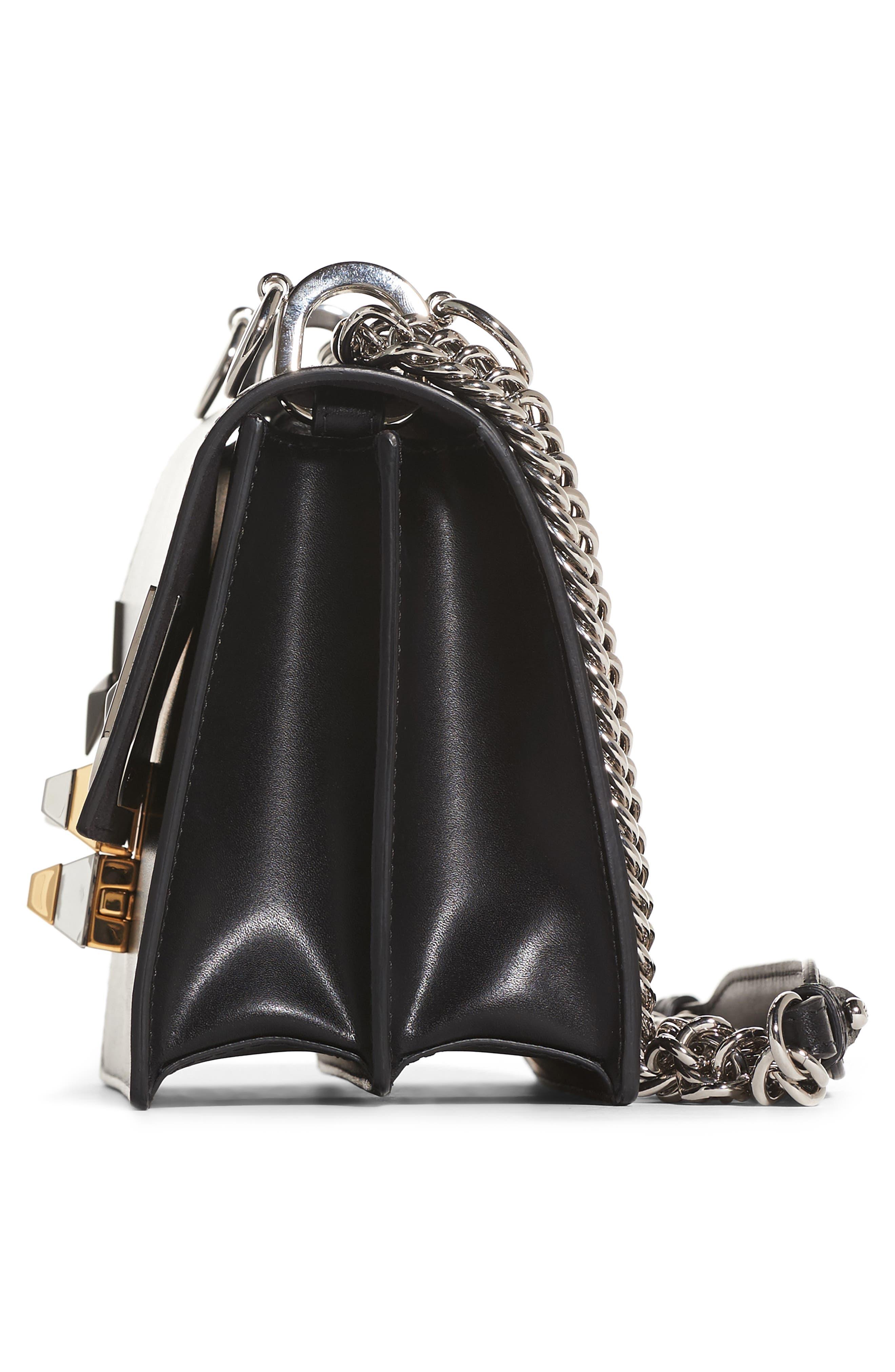 Kan I Monster Leather Shoulder Bag,                             Alternate thumbnail 4, color,                             Black Palladium