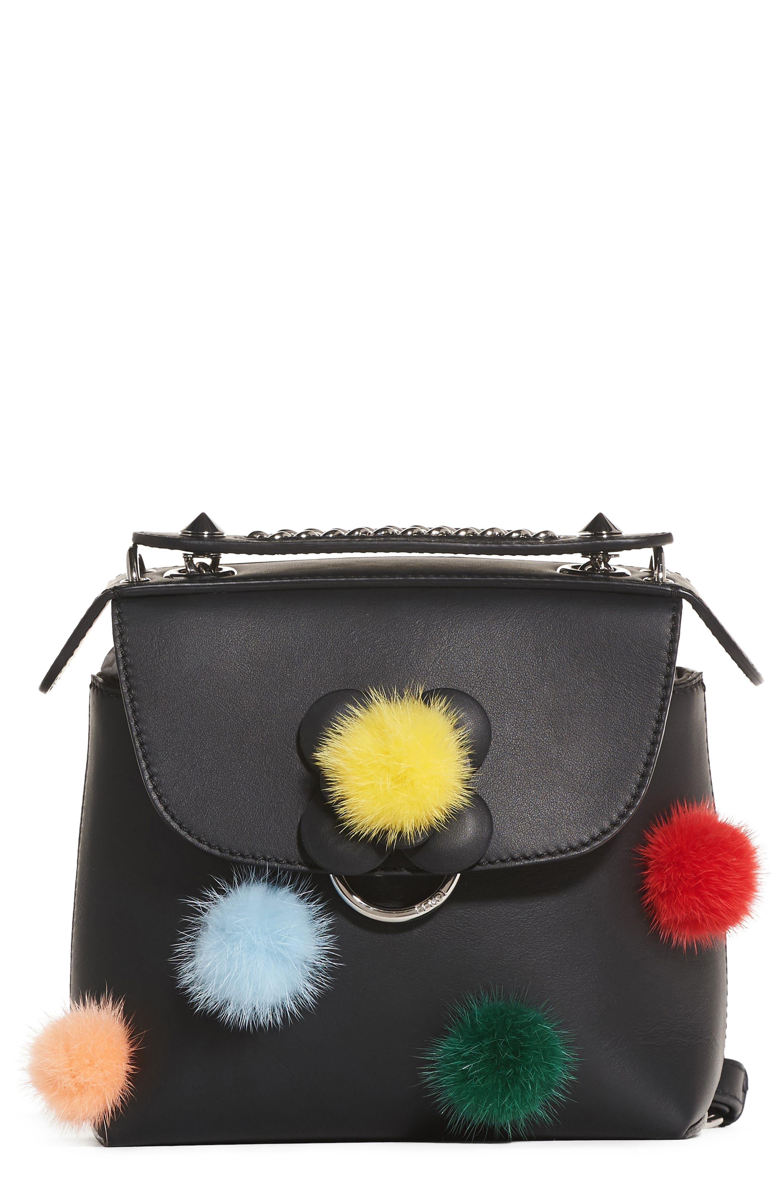 Mini Back to School Genuine Mink Fur Pompom Leather Shoulder Bag,                         Main,                         color, Black Multi