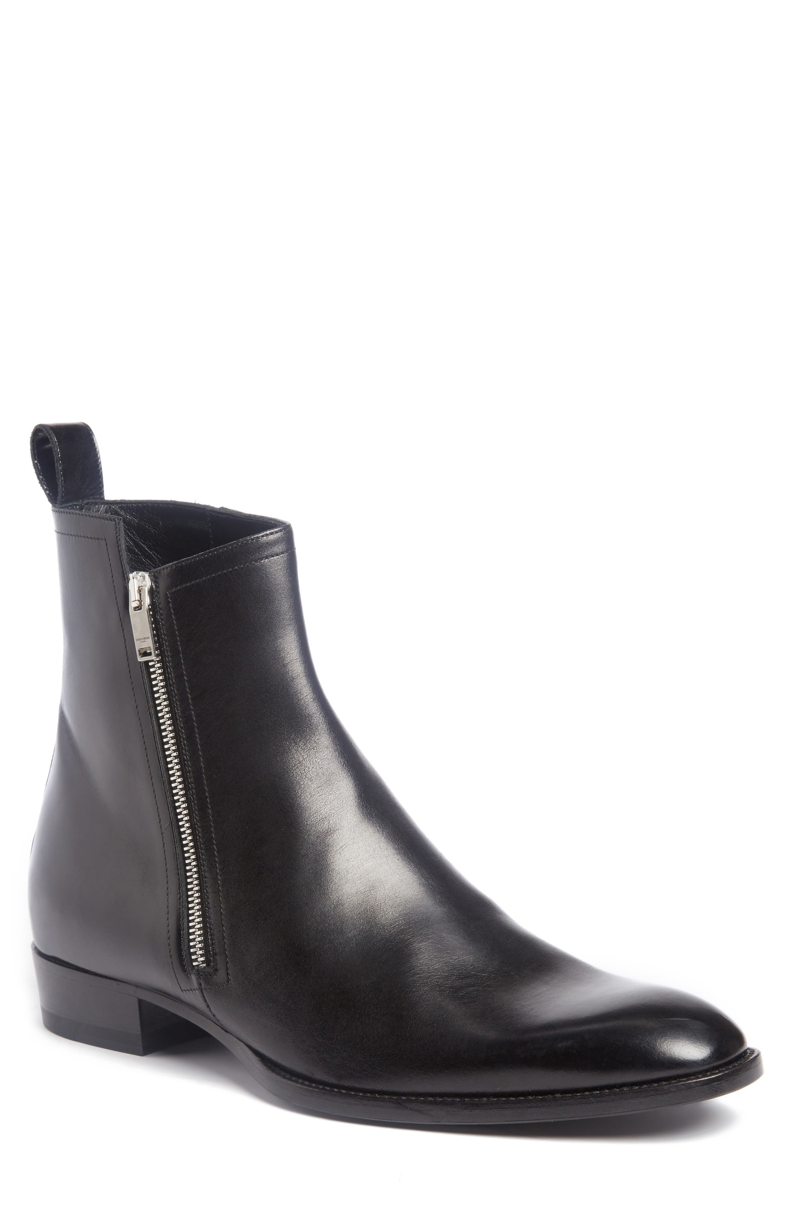 Wyatt Side Zip Boot,                         Main,                         color, Nero Leather