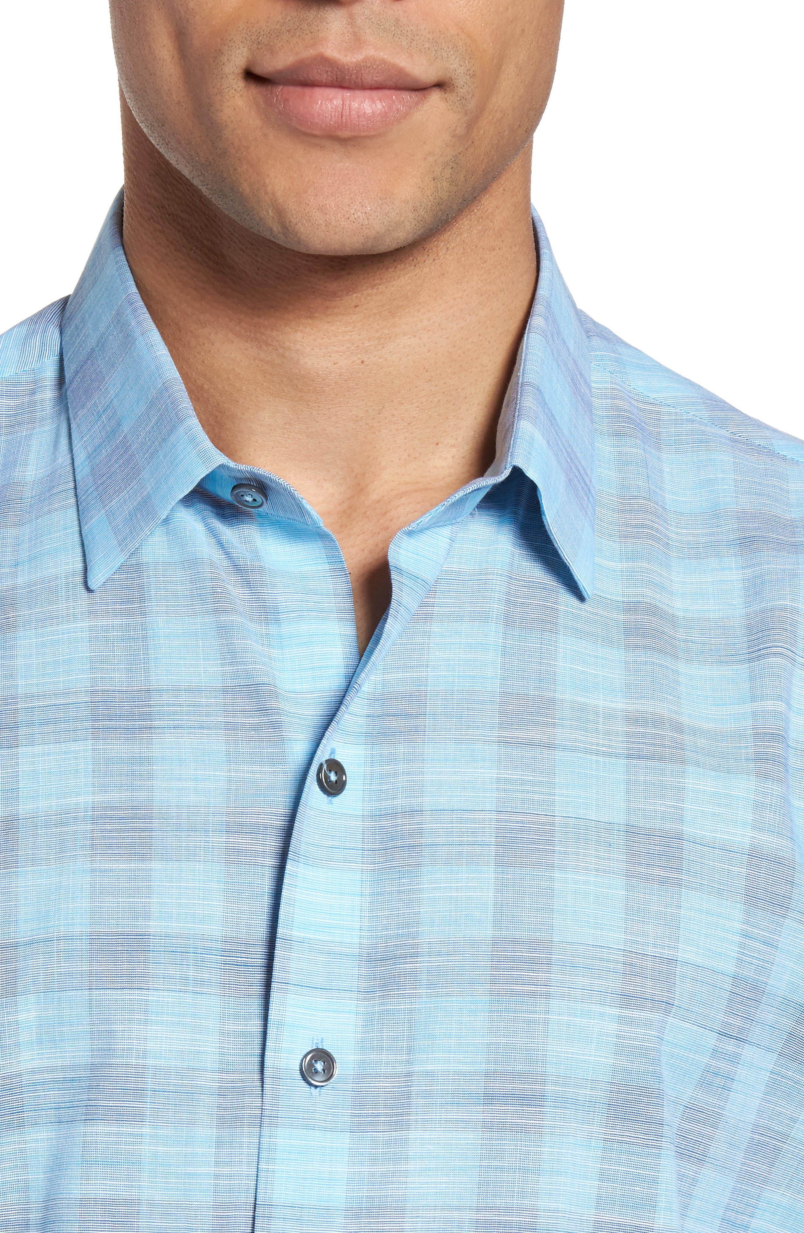 Hasanagic Trim Fit Plaid Sport Shirt,                             Alternate thumbnail 4, color,                             Turquoise