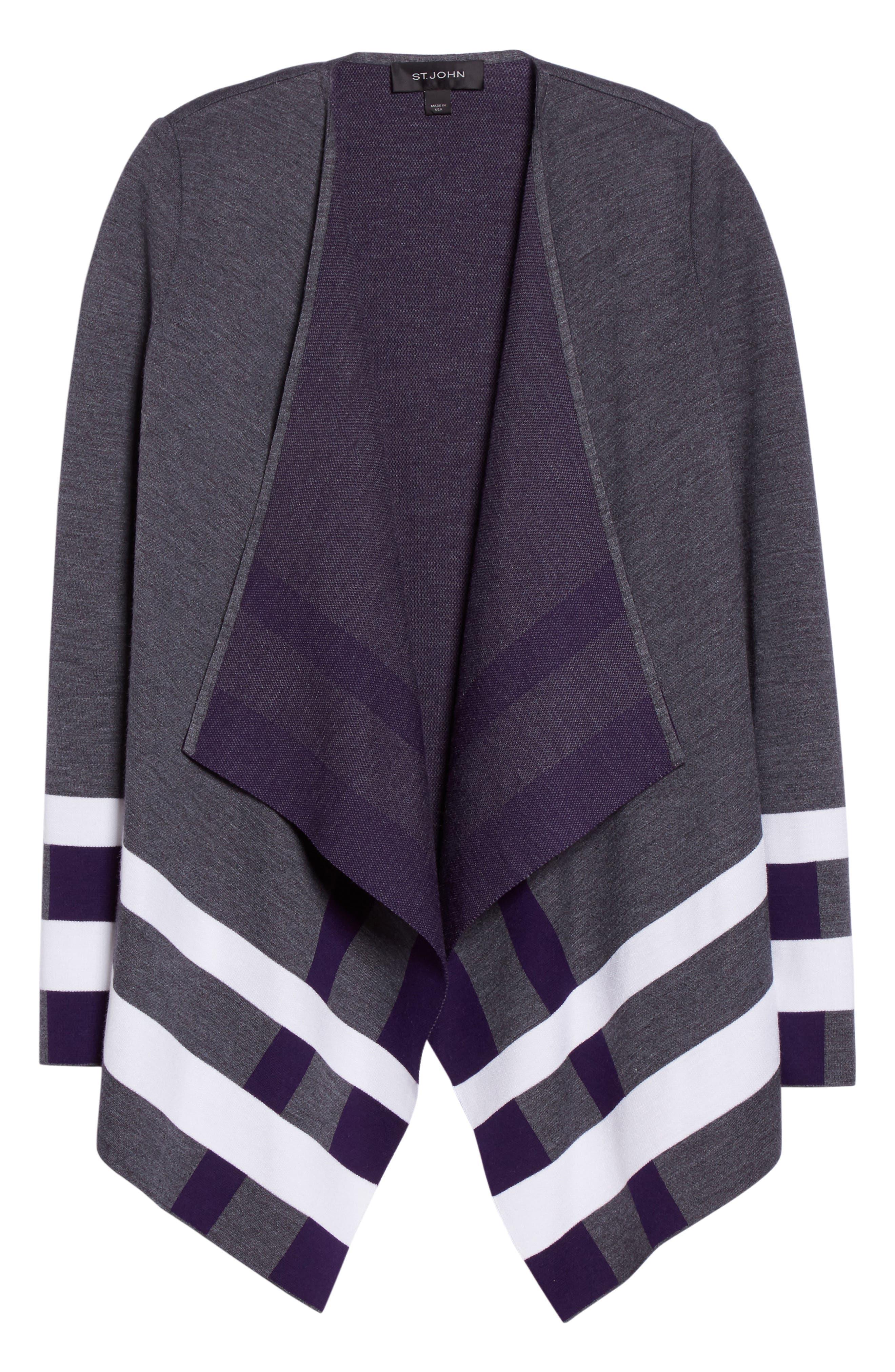 Milano Knit Jacquard Drape Front Jacket,                             Alternate thumbnail 7, color,                             Flint Multi