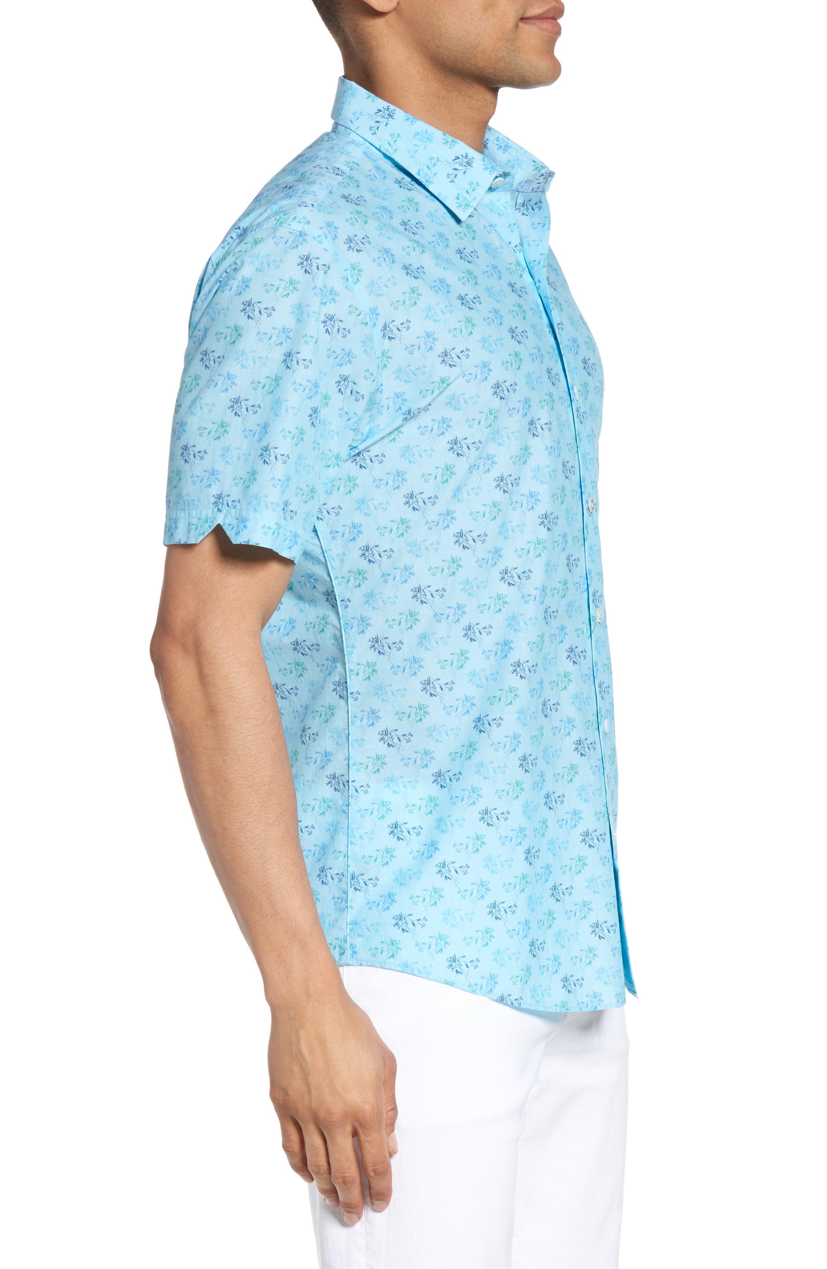 Cobb Print Sport Shirt,                             Alternate thumbnail 3, color,                             Turquoise