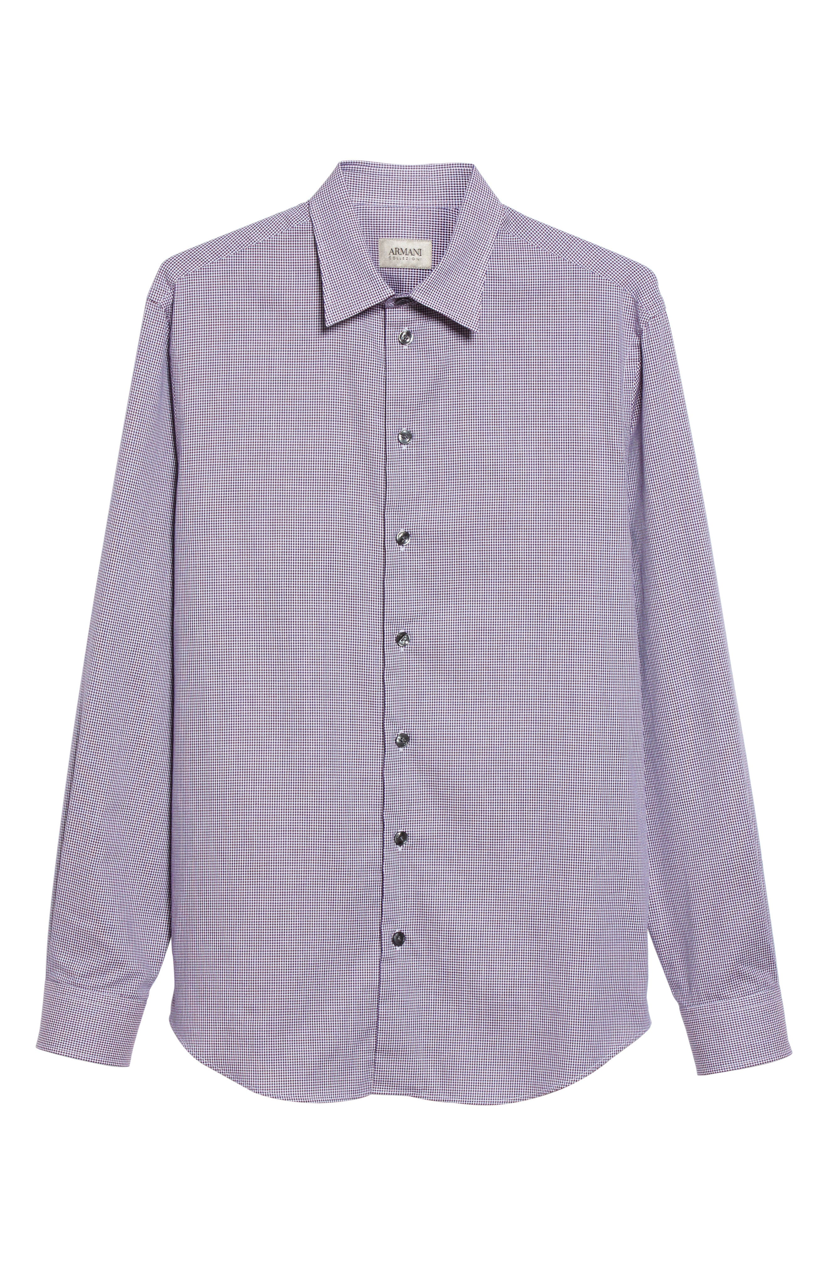 Regular Fit Houndstooth Sport Shirt,                             Alternate thumbnail 6, color,                             Anthracite/ Purple