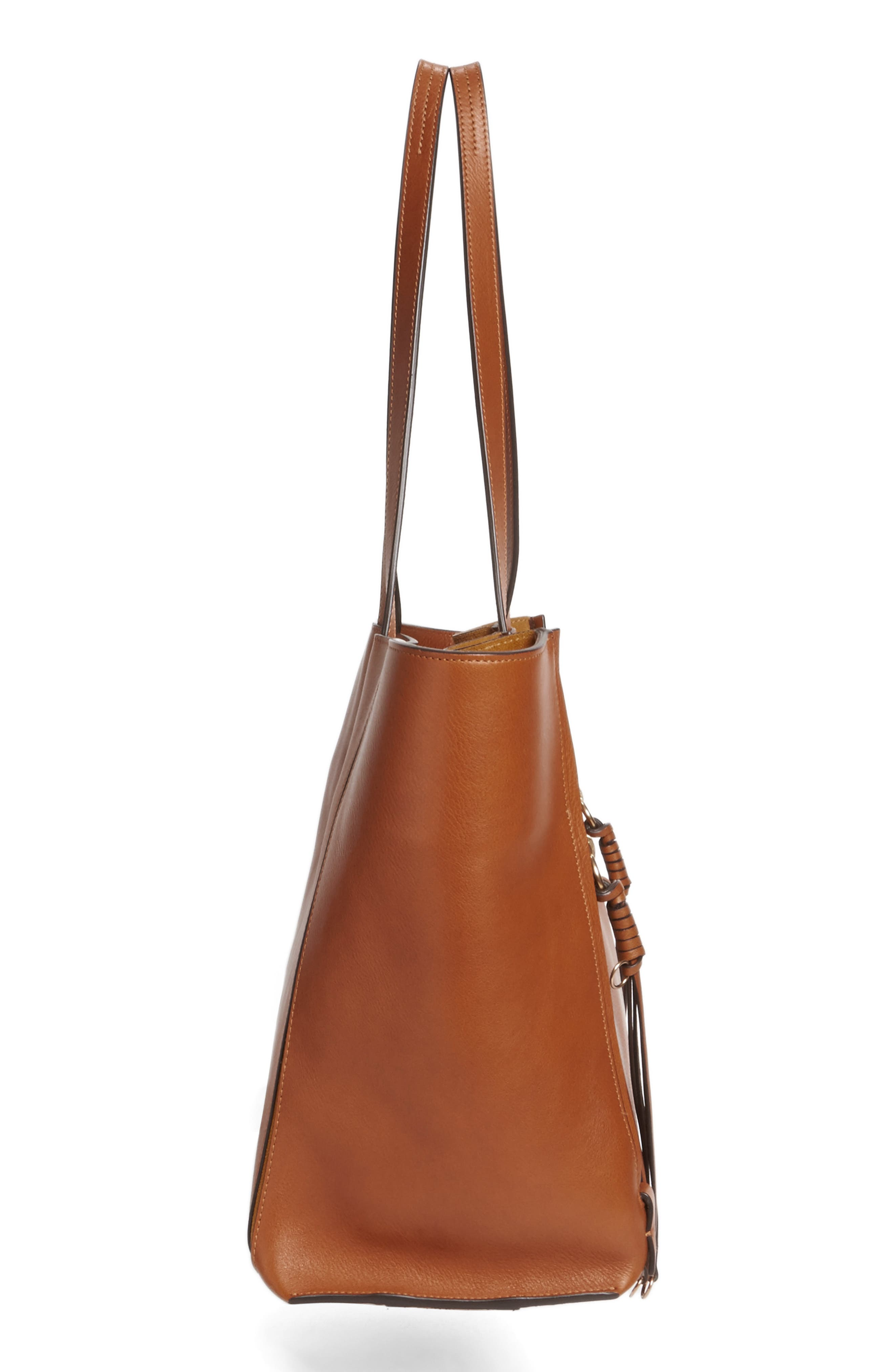 Medium Milo Calfskin Leather Tote,                             Alternate thumbnail 7, color,                             Caramel