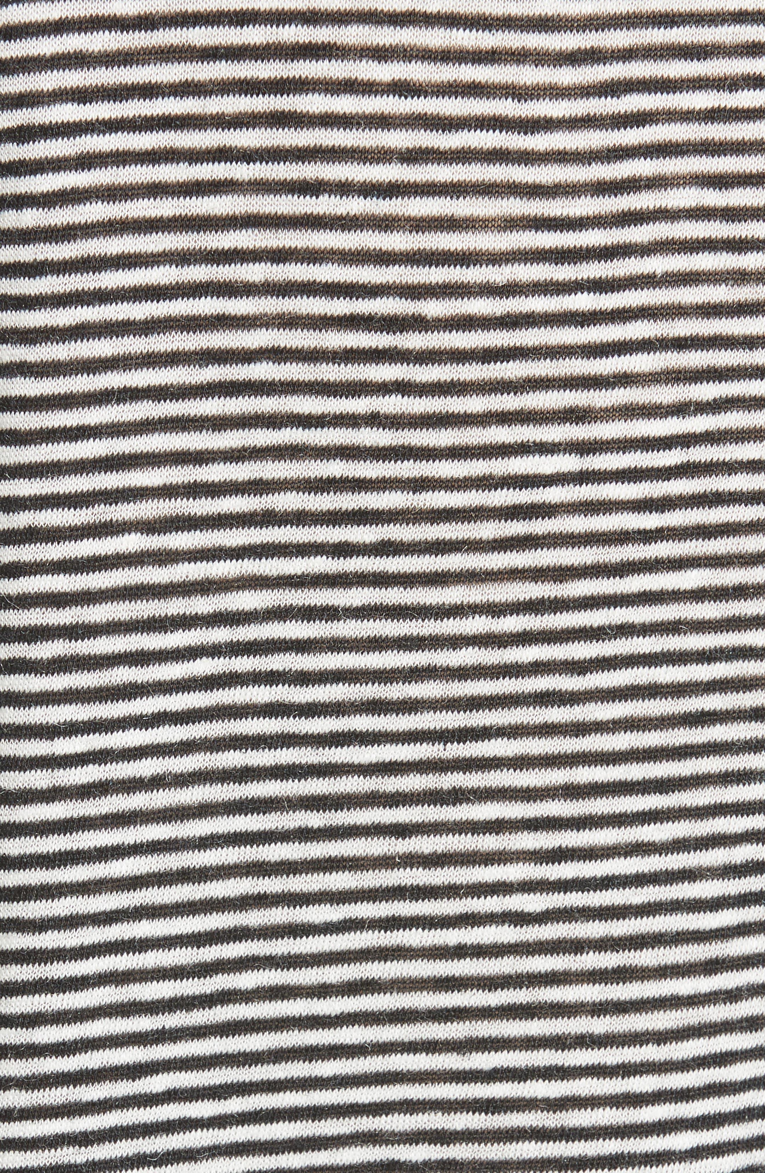 Stripe Linen Blend Tee,                             Alternate thumbnail 5, color,                             Blanc/ Black