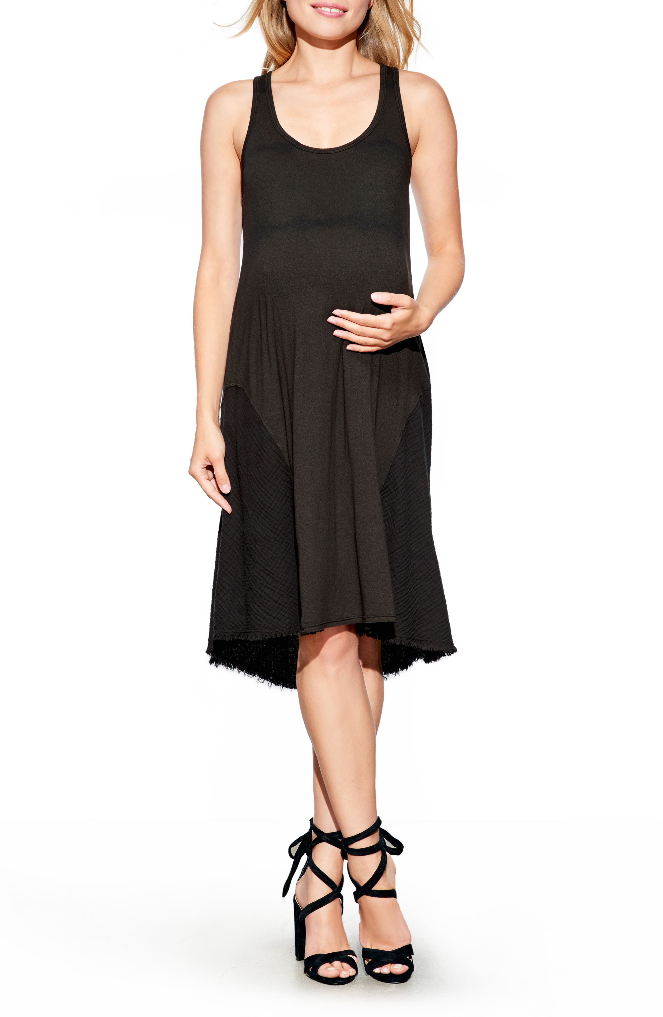 High/Low Maternity Tank Dress,                             Main thumbnail 1, color,                             Black