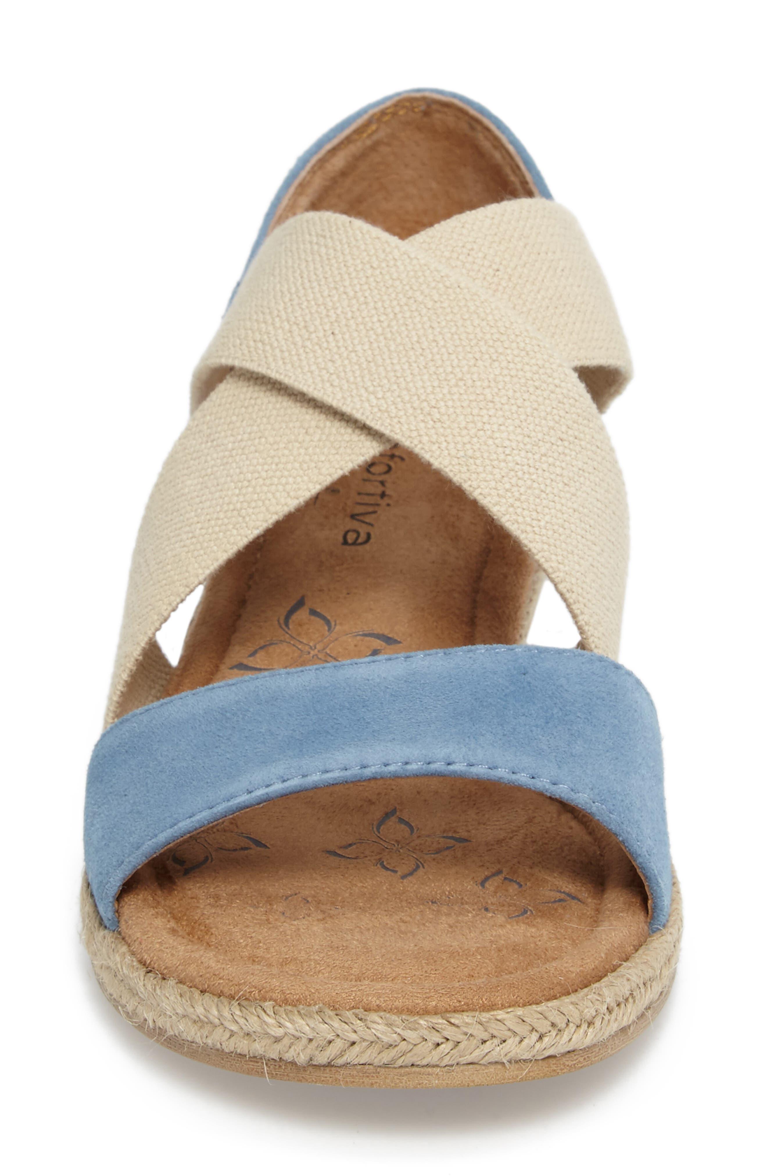 Brye Espadrille Sandal,                             Alternate thumbnail 4, color,                             Pale Blue Suede