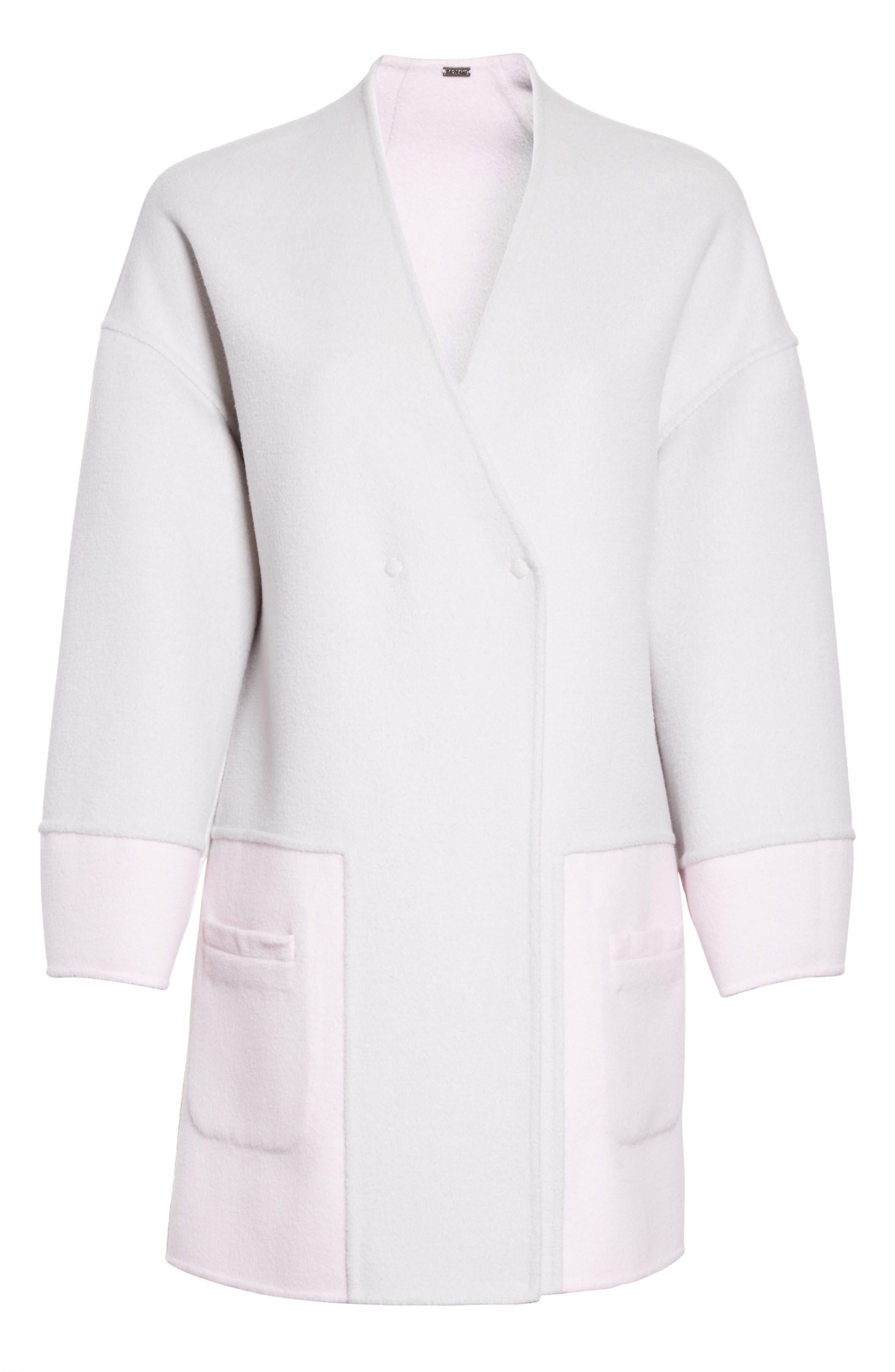 Reversible Wool Blend Cocoon Coat,                             Alternate thumbnail 7, color,                             Petal/ Light Grey Melange