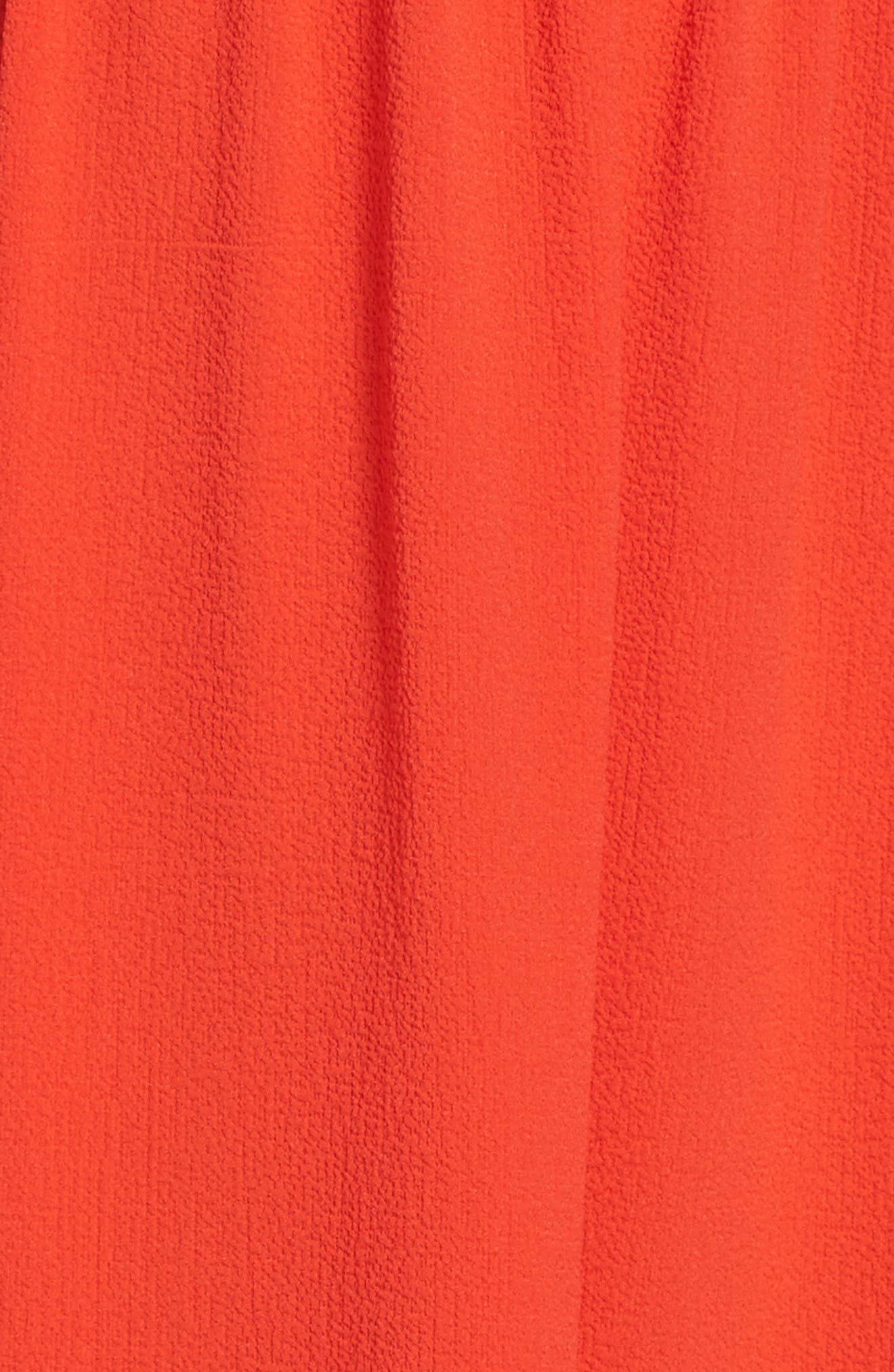 Off the Shoulder Crepe Dress,                             Alternate thumbnail 5, color,                             Poppy