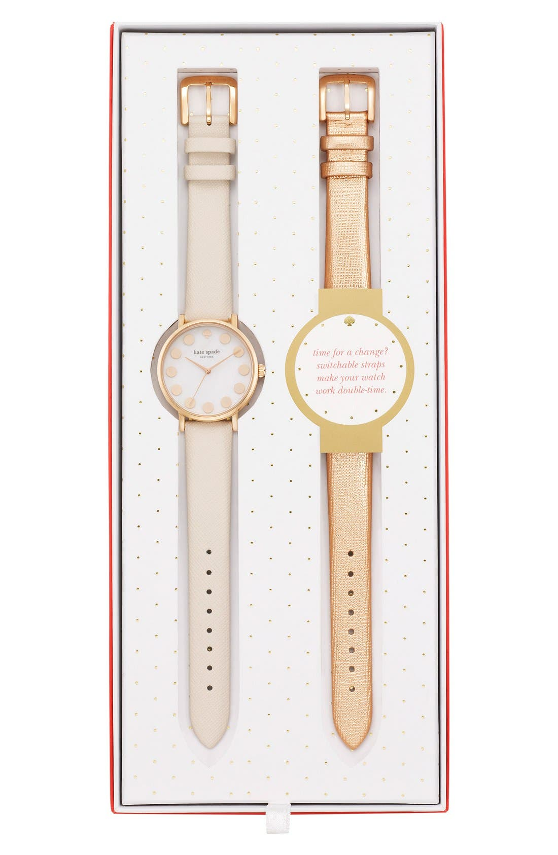 Alternate Image 5  - kate spade new york 'metro' boxed dot dial watch & straps set, 34mm (Nordstrom Exclusive)