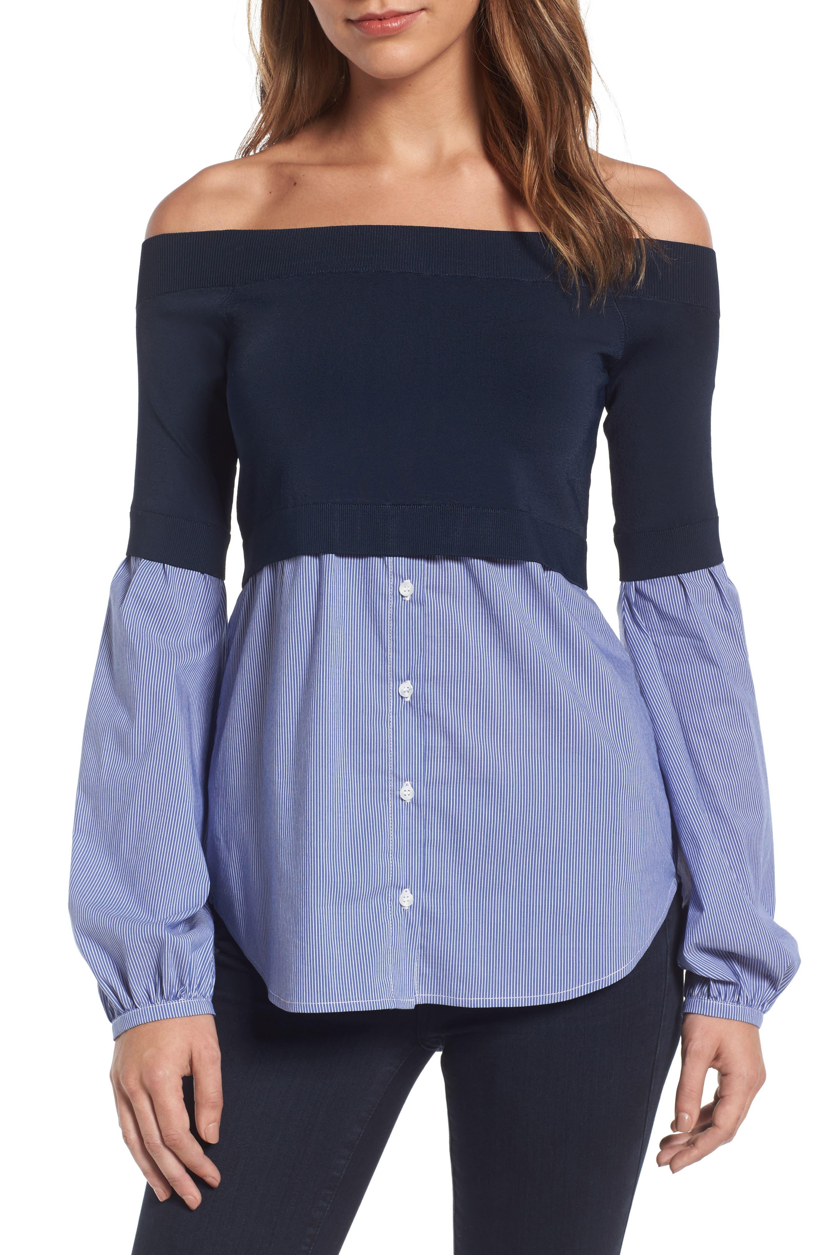 Trouvé Off the Shoulder Poplin Sweater