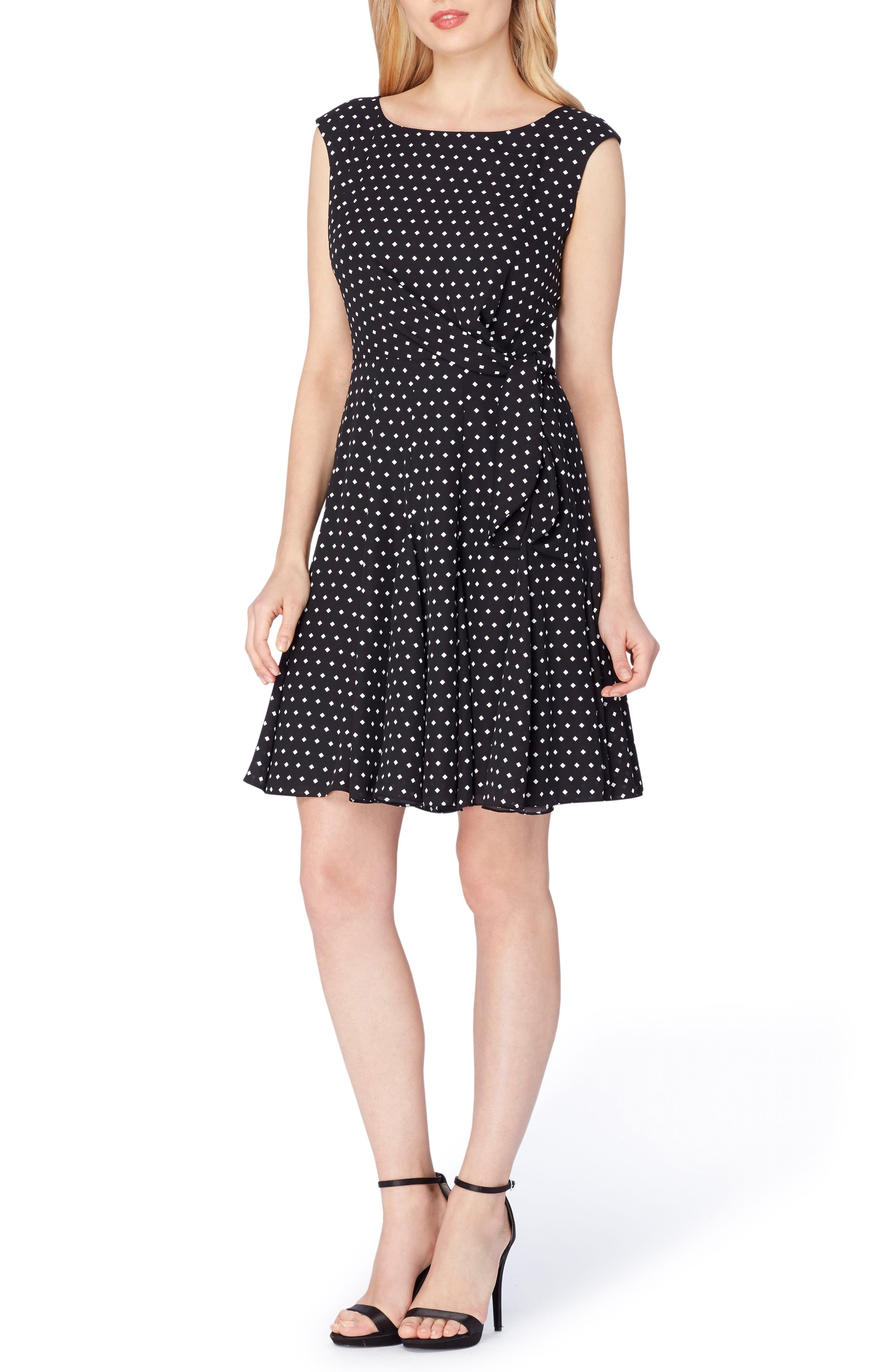 Fit & Flare Dress,                             Main thumbnail 1, color,                             Black/ White