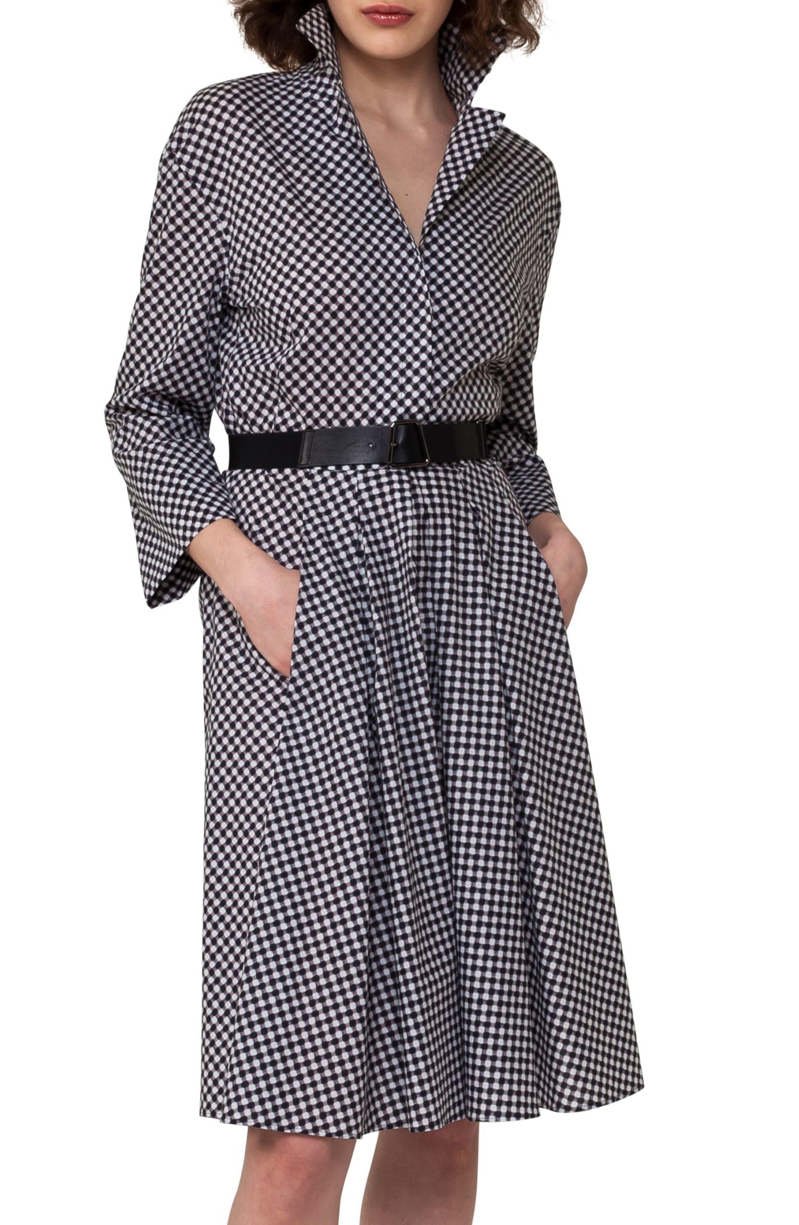Belted Check Cotton Dress,                             Alternate thumbnail 3, color,                             Crema/ Black