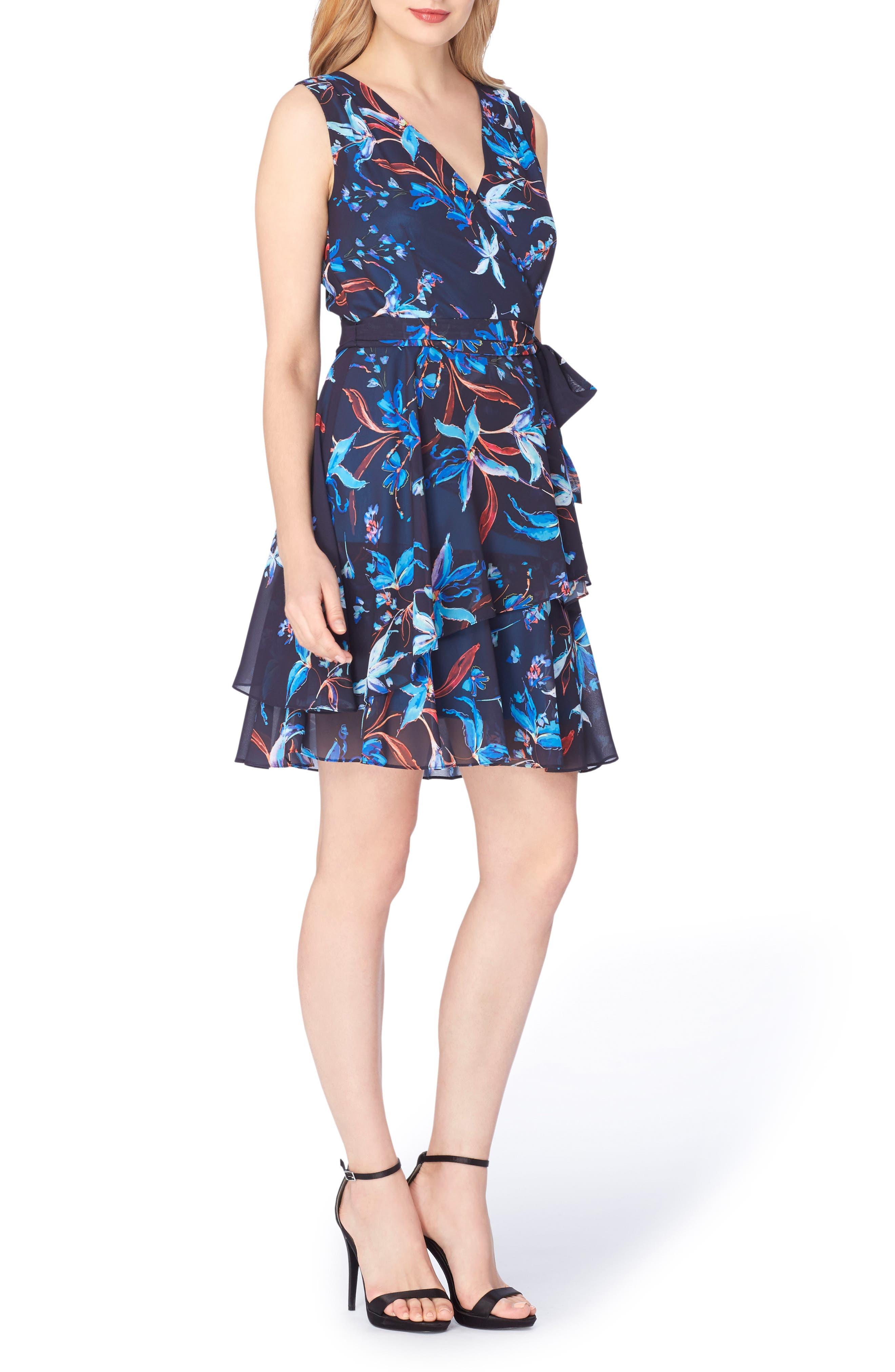 TAHARI Chiffon Faux Wrap Dress
