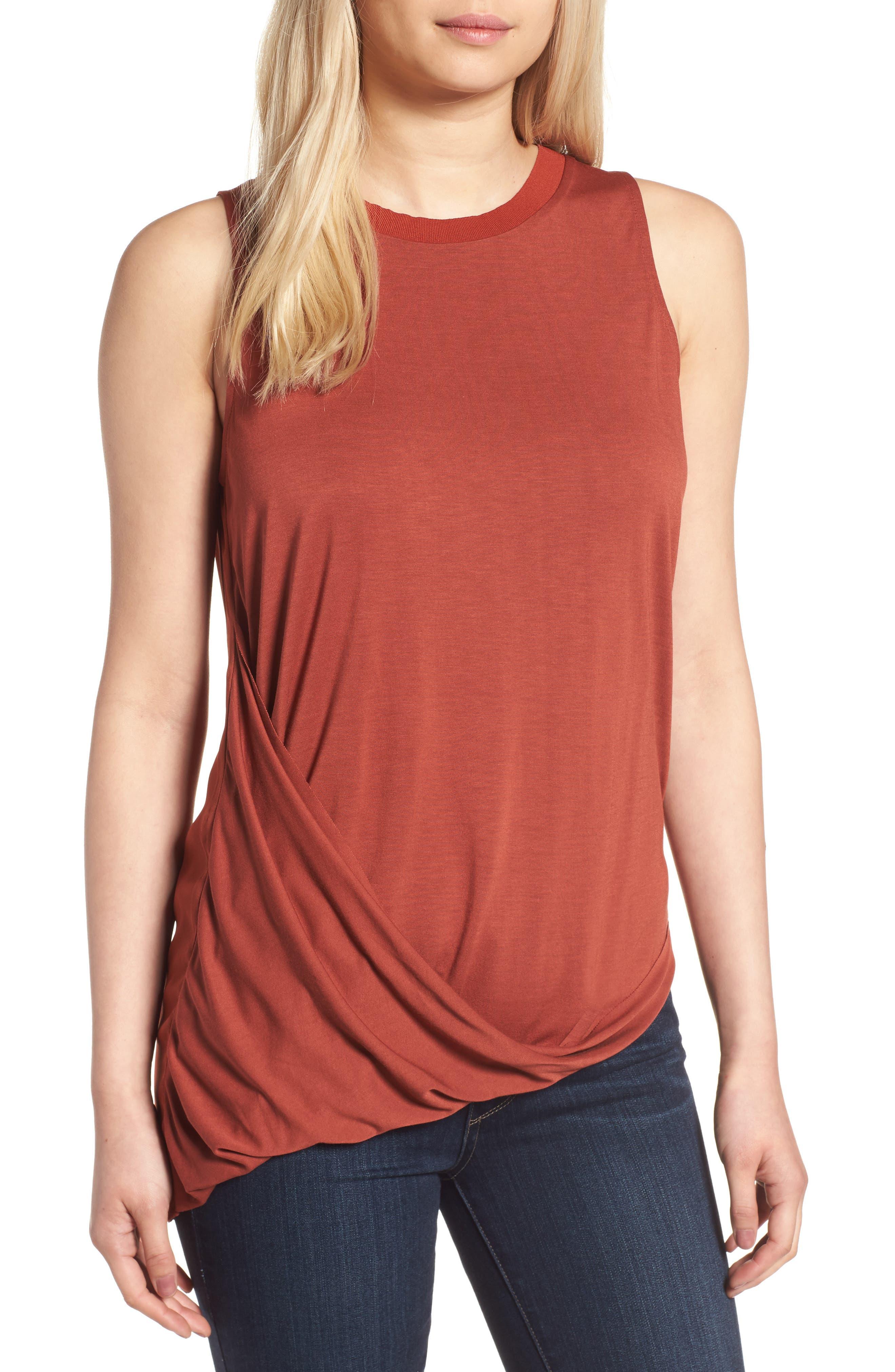 Main Image - Trouvé Asymmetrical Drape Knit Top