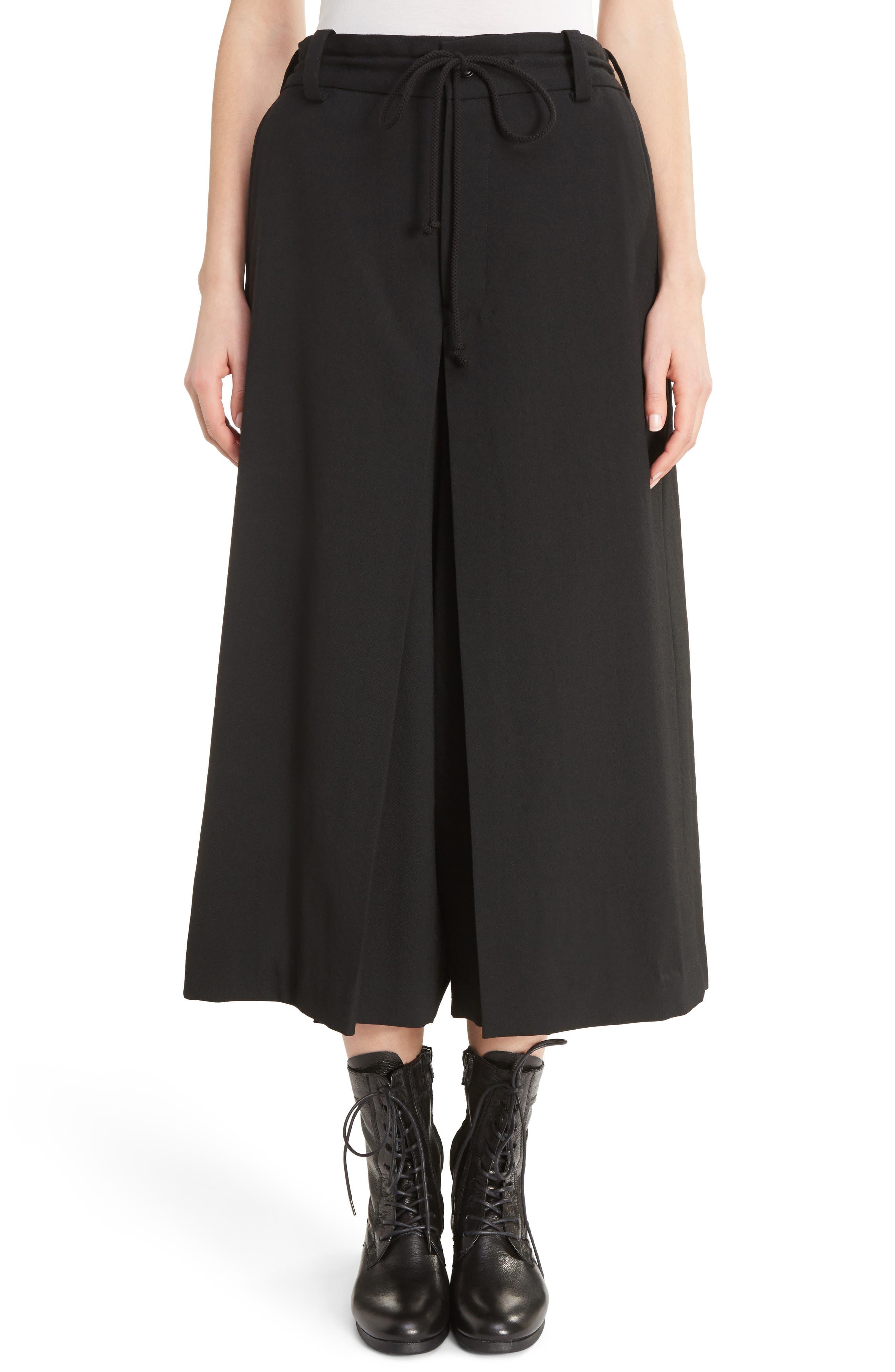 G-Gusset Tuck Front Wide Leg Pants,                         Main,                         color, Black