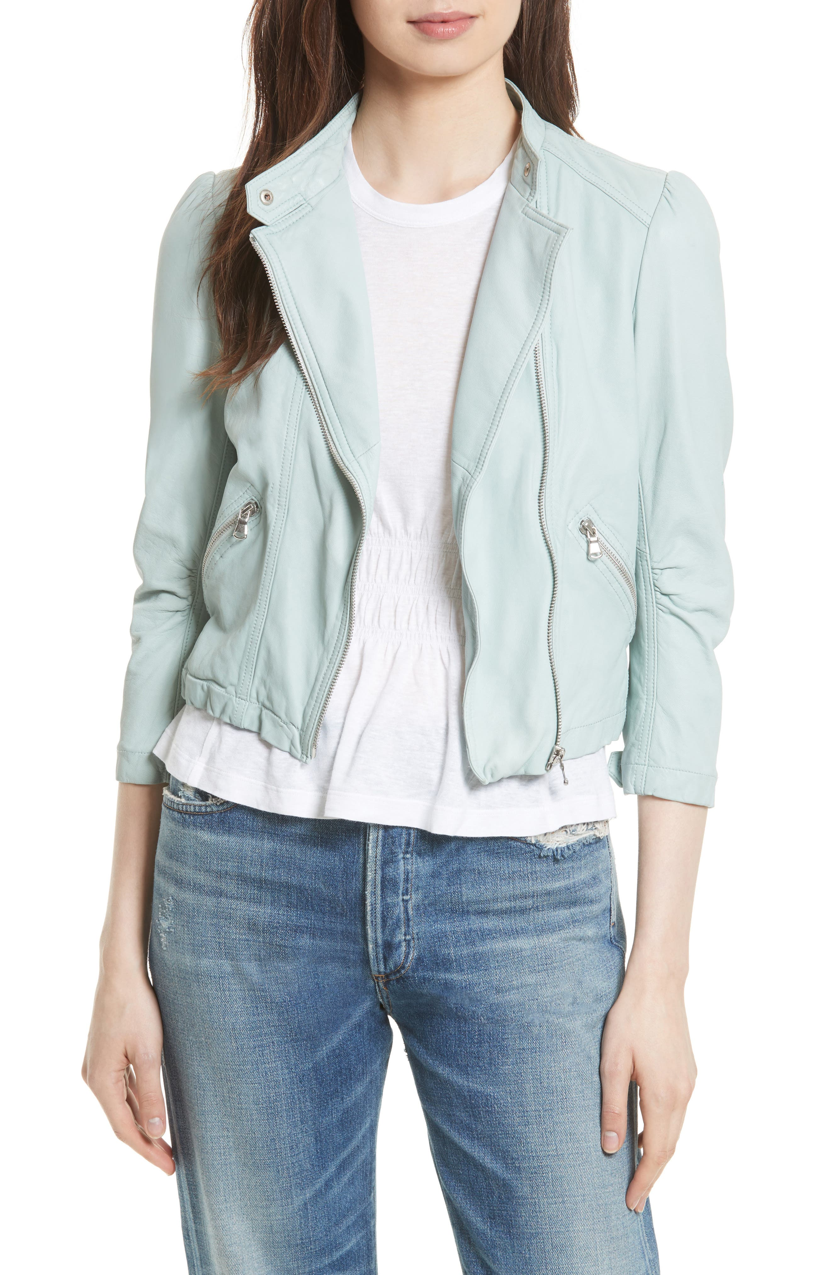 Leather Moto Jacket,                         Main,                         color, Ocean Dusk