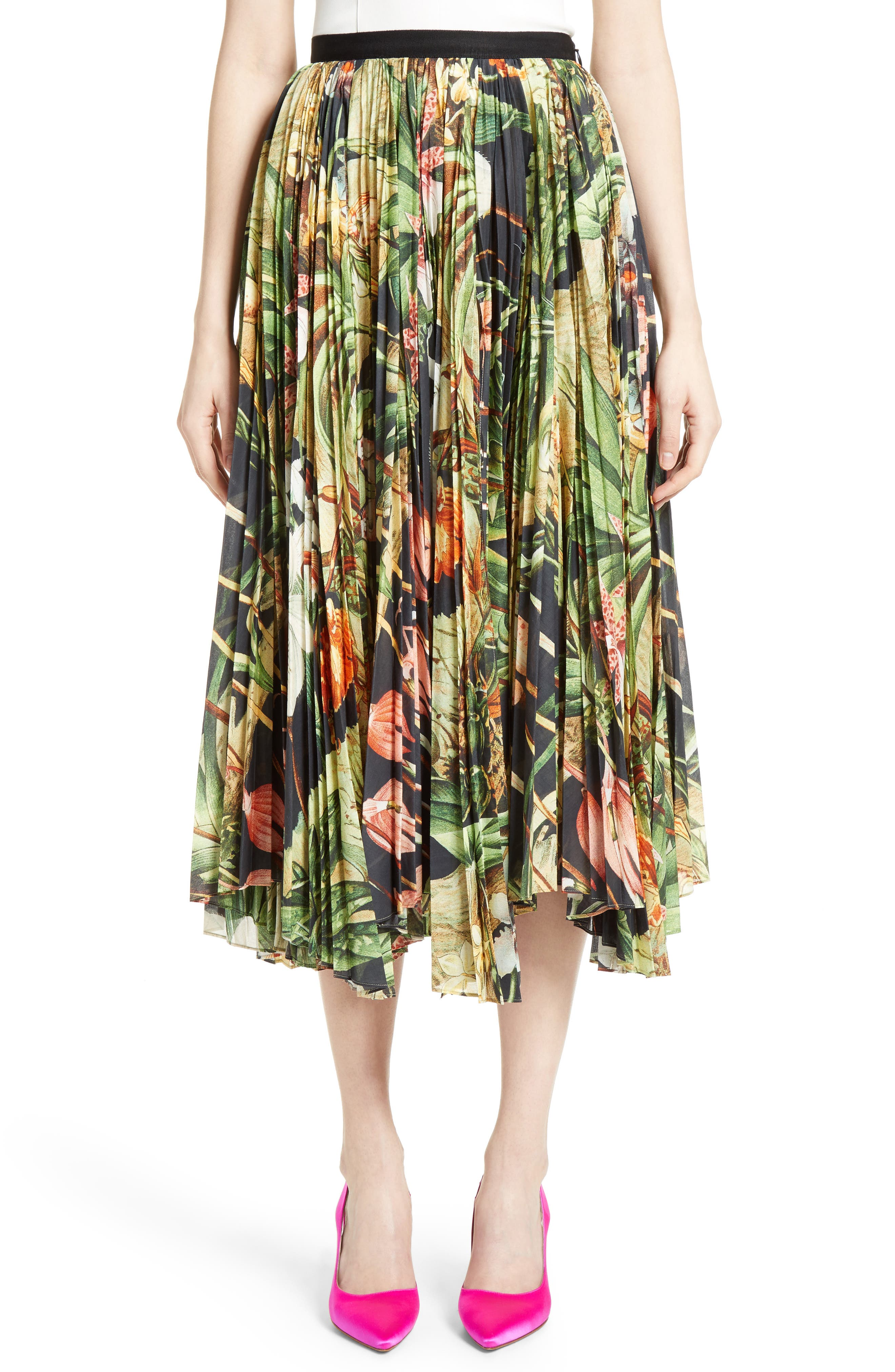 Print Cotton Voile Pleated Skirt,                         Main,                         color, Black Orchid