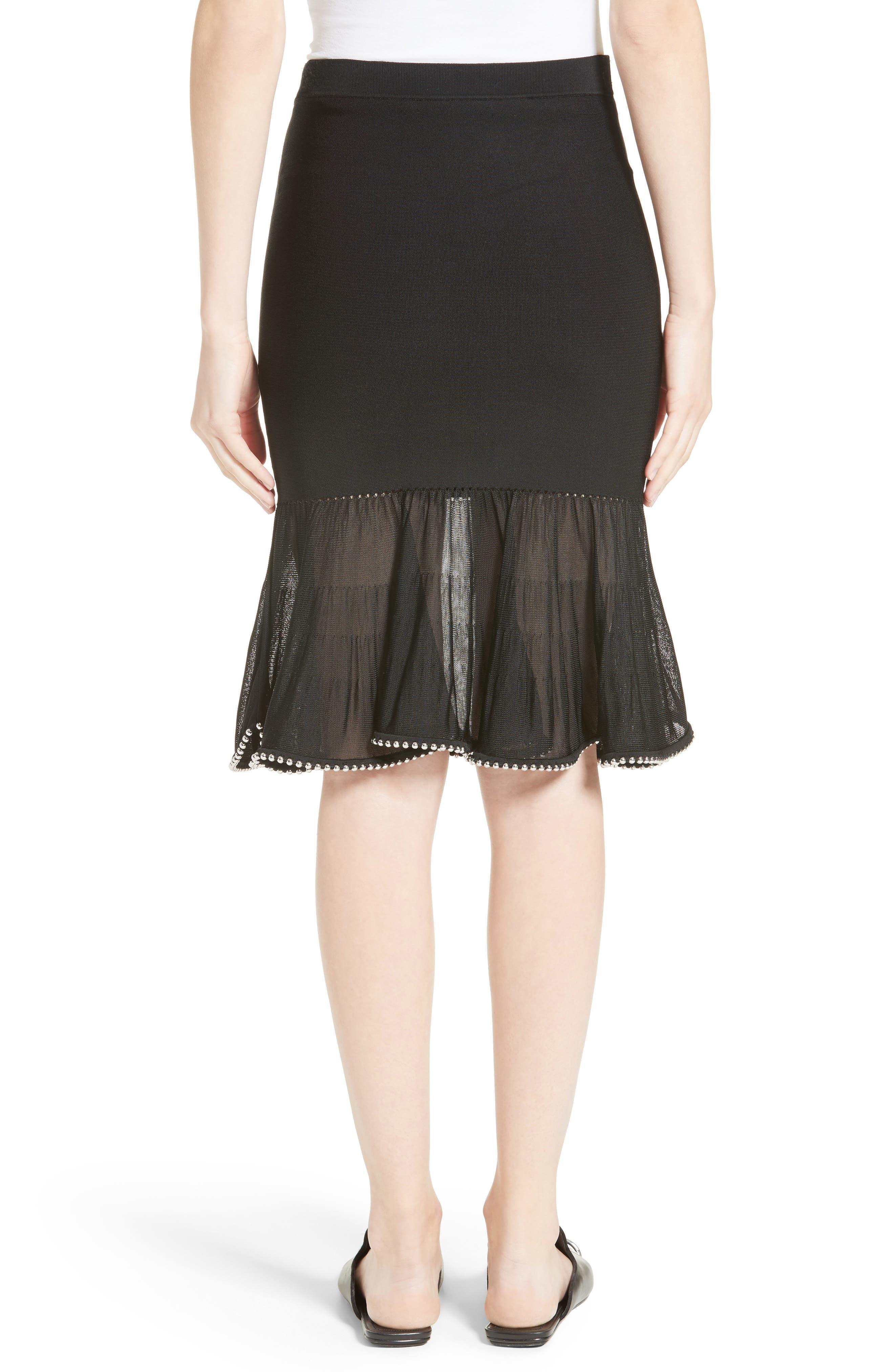 Chain Trim Ruffle Knit Skirt,                             Alternate thumbnail 2, color,                             Black