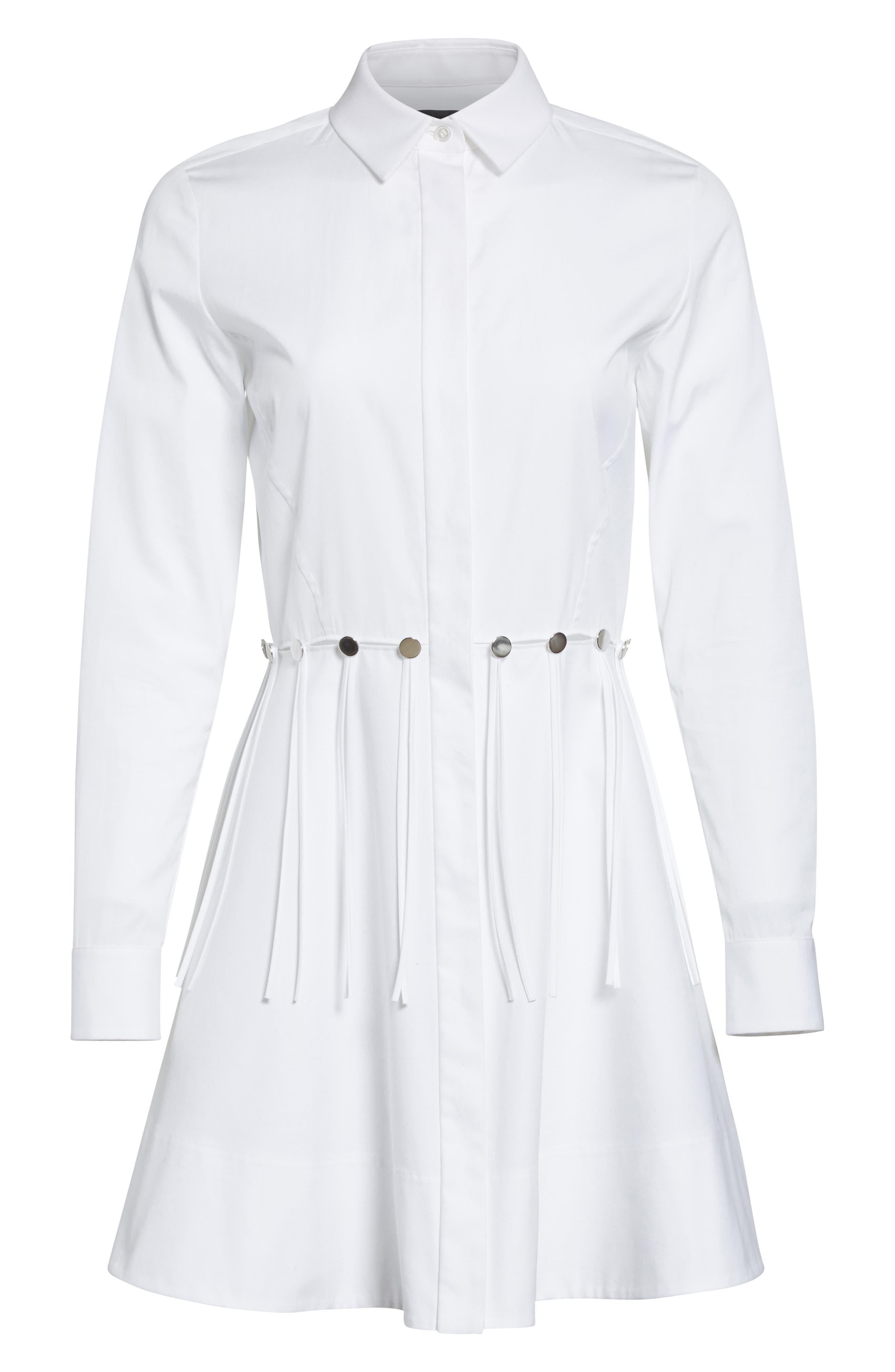 Cotton Poplin Shirtdress,                             Alternate thumbnail 4, color,                             Eggshell
