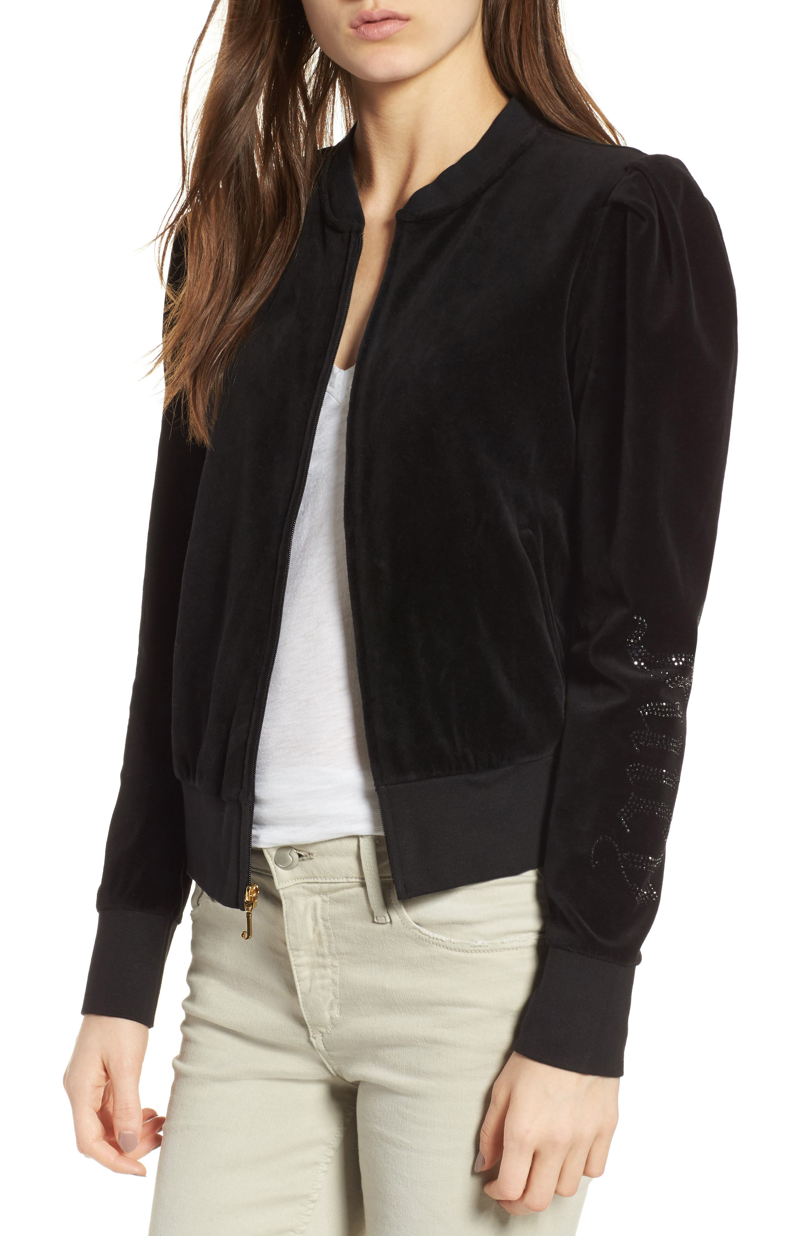 Main Image - Juicy Couture Puff Sleeve Velour Track Jacket