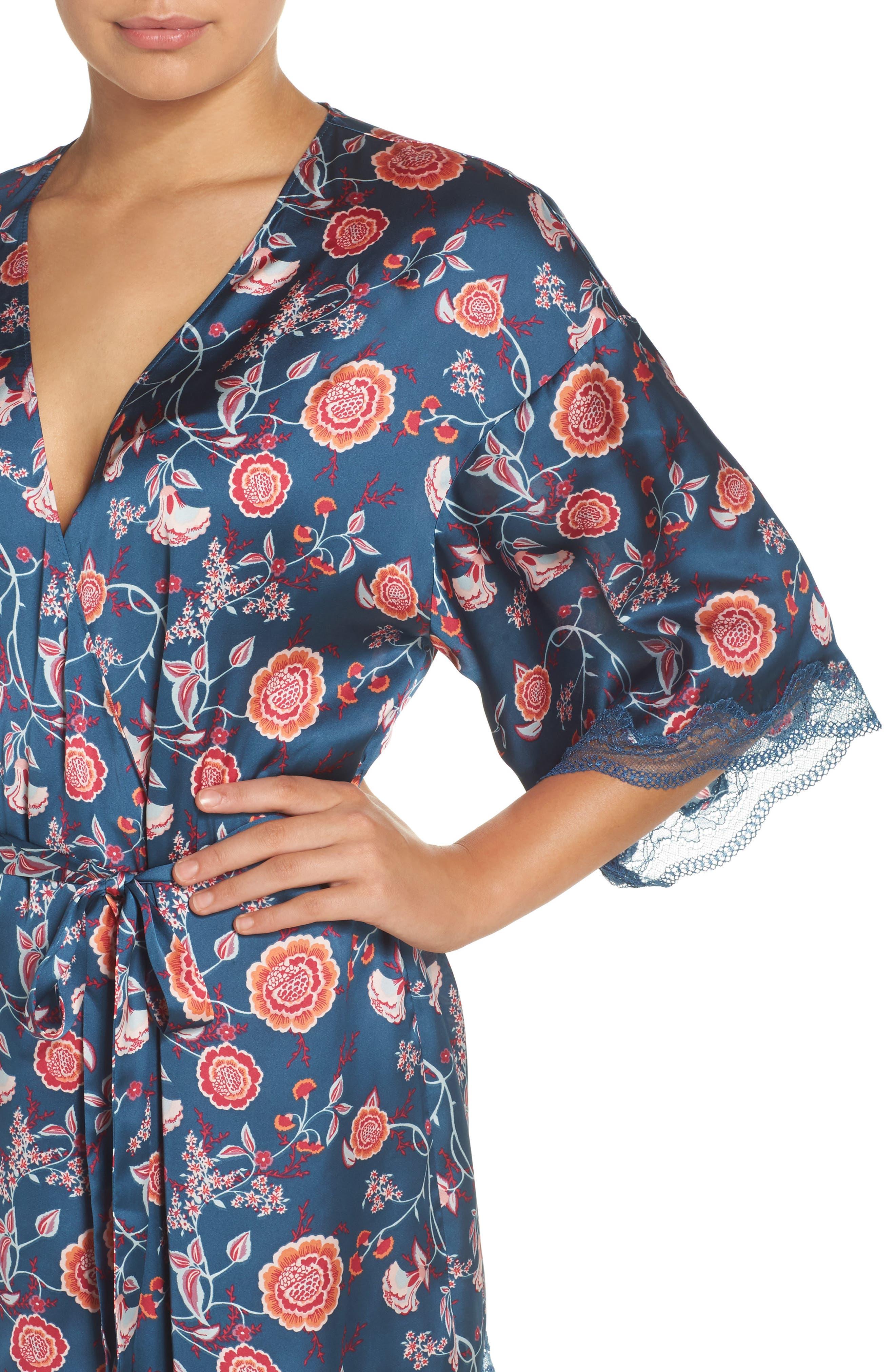 Floral Print Satin Kimono,                             Alternate thumbnail 5, color,                             Blue Ceramic Vintage Floral