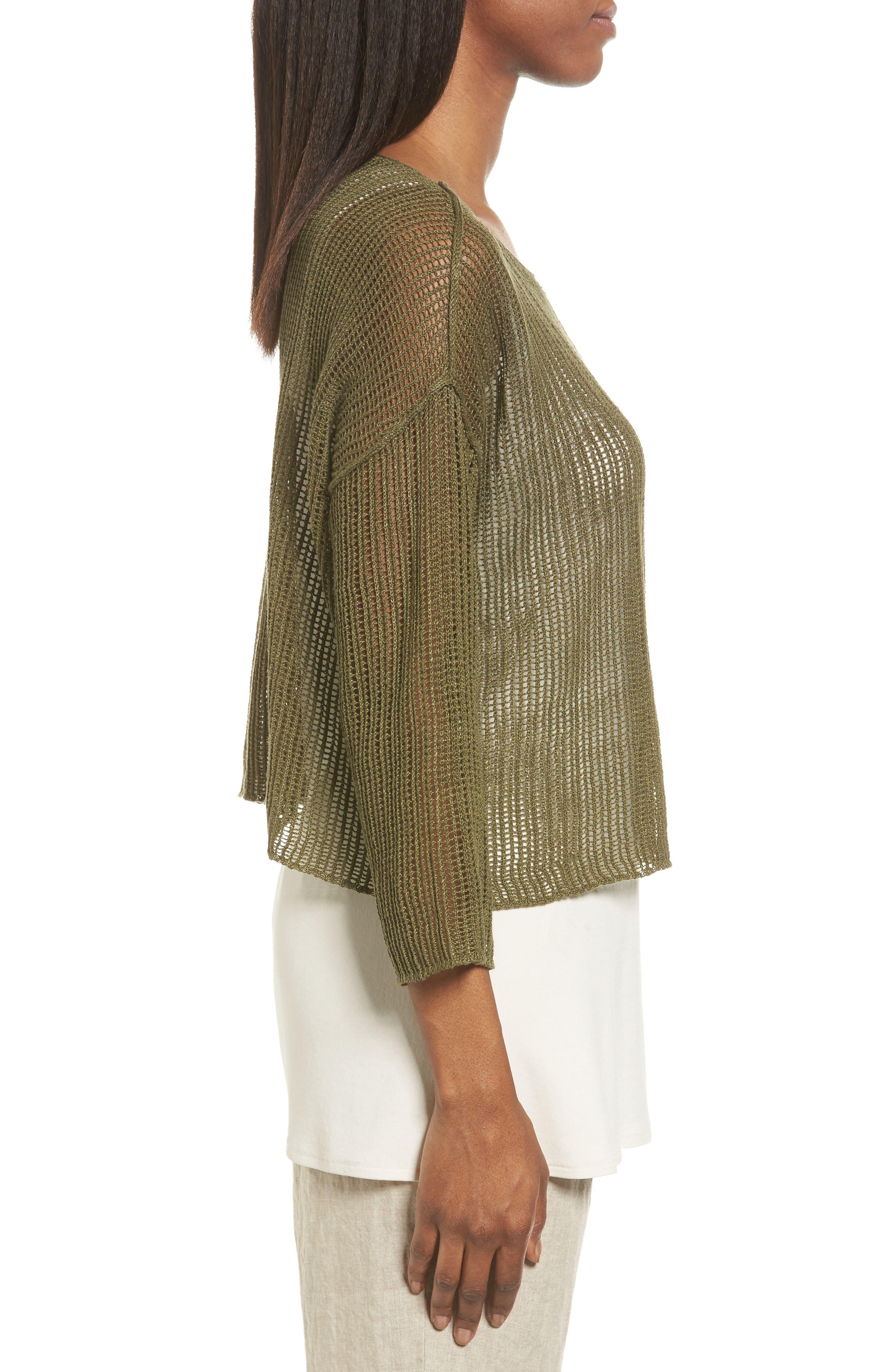 Alternate Image 3  - Eileen Fisher Organic Linen Crop Sweater (Regular & Petite)