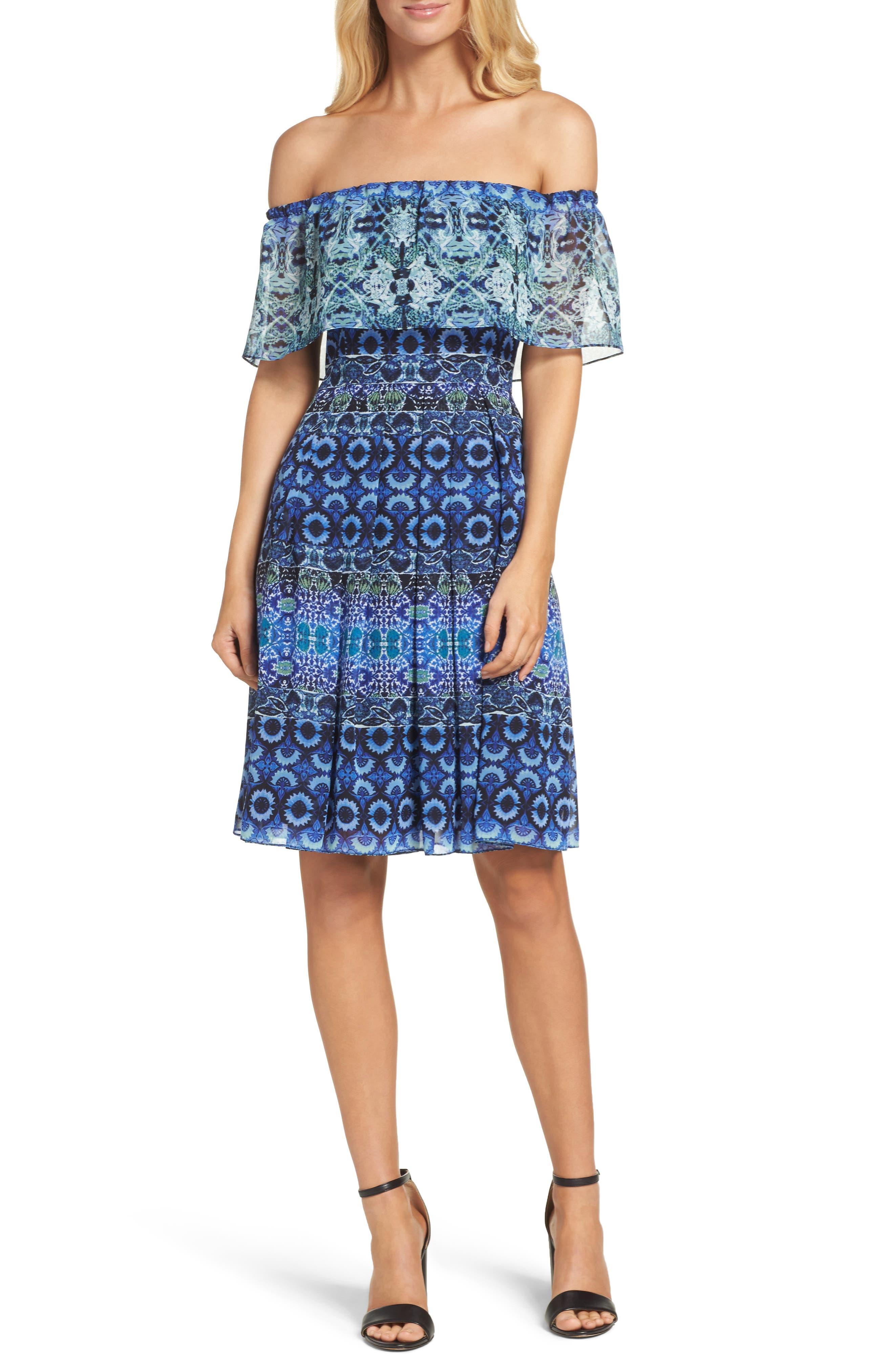 ELIZA J Off the Shoulder Chiffon Dress