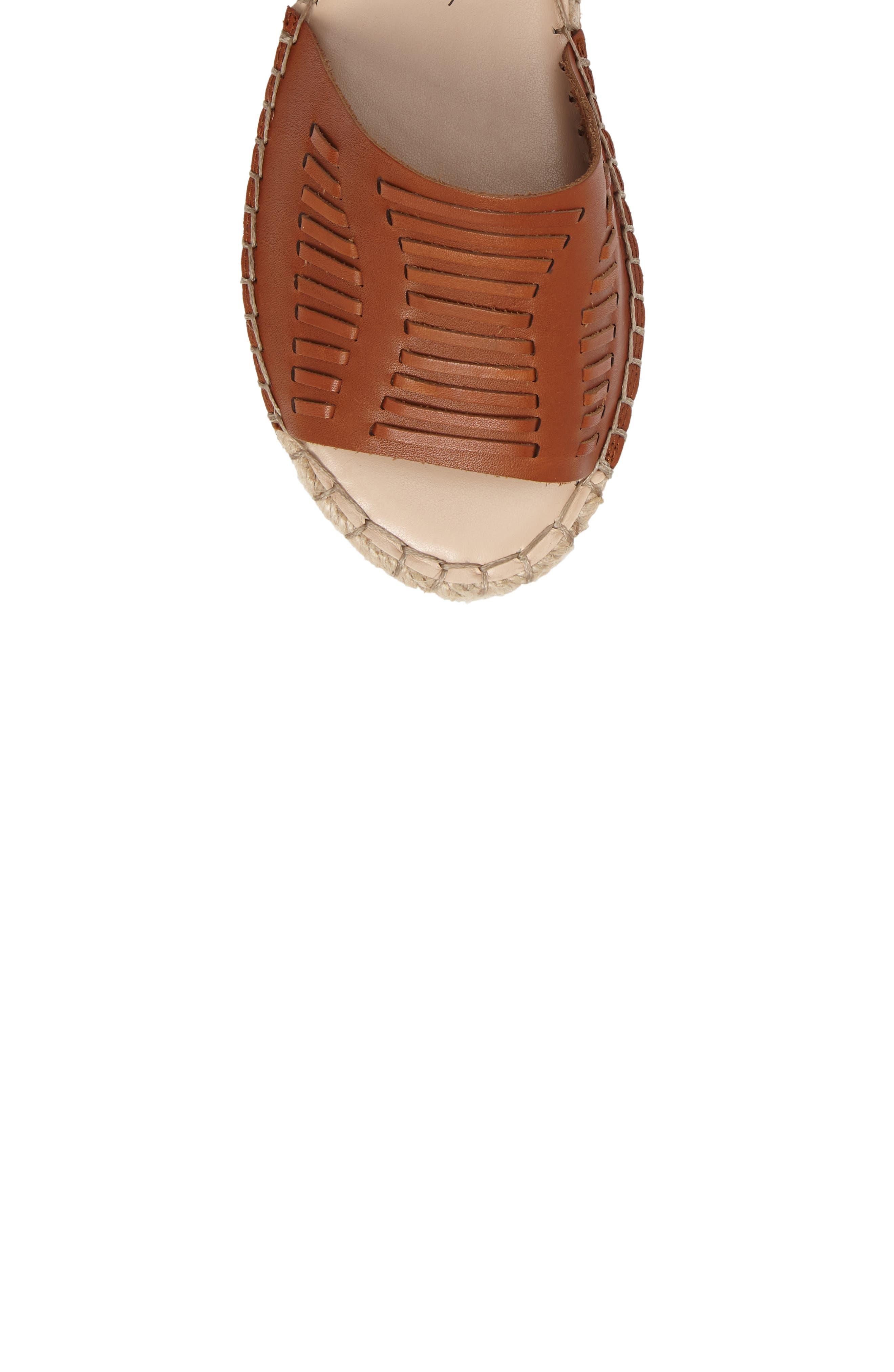 Clover Ankle Wrap Espadrille Sandal,                             Alternate thumbnail 5, color,                             Cognac Leather
