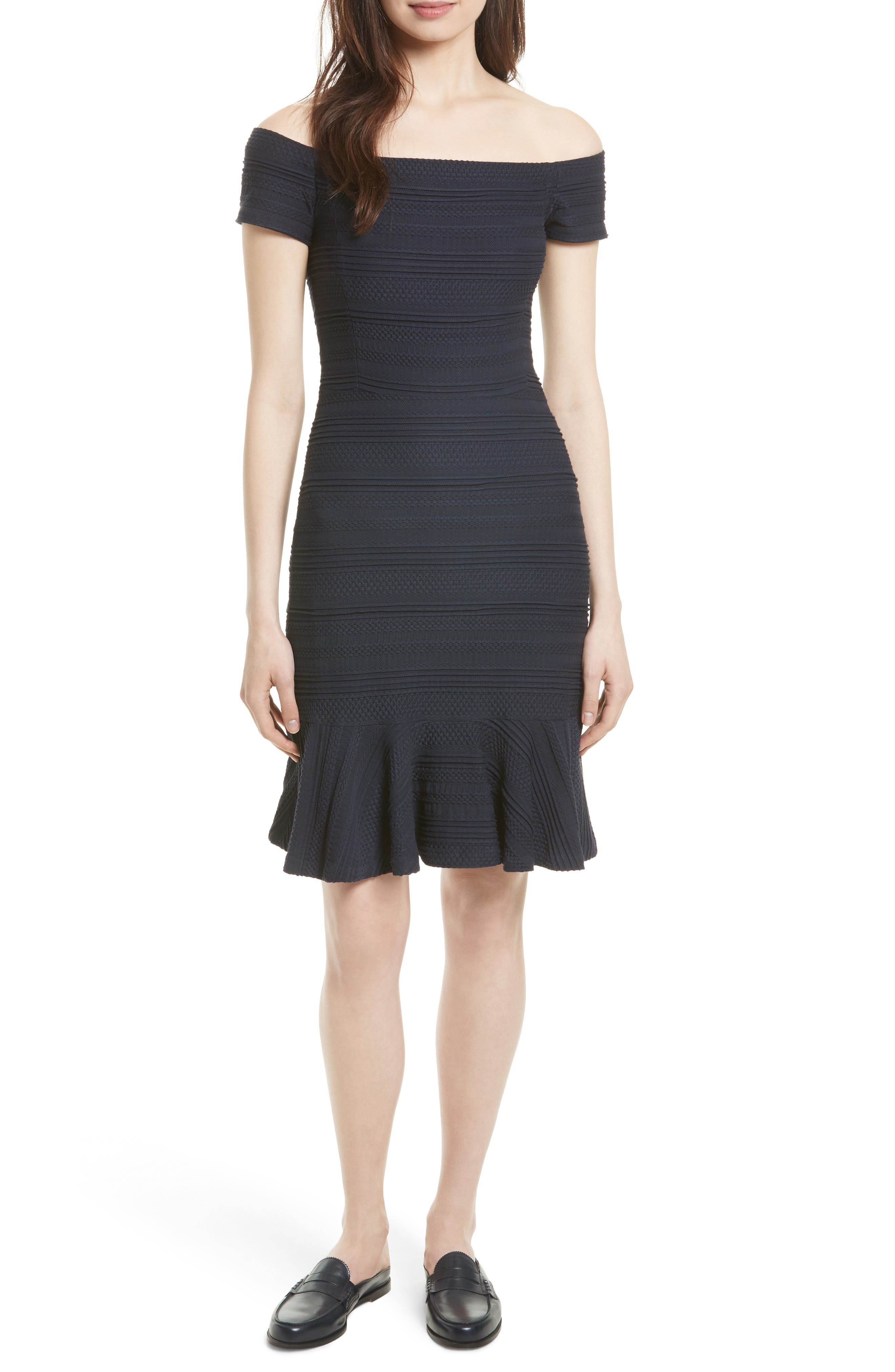 Main Image - Rebecca Taylor Off the Shoulder Textured Knit Dress