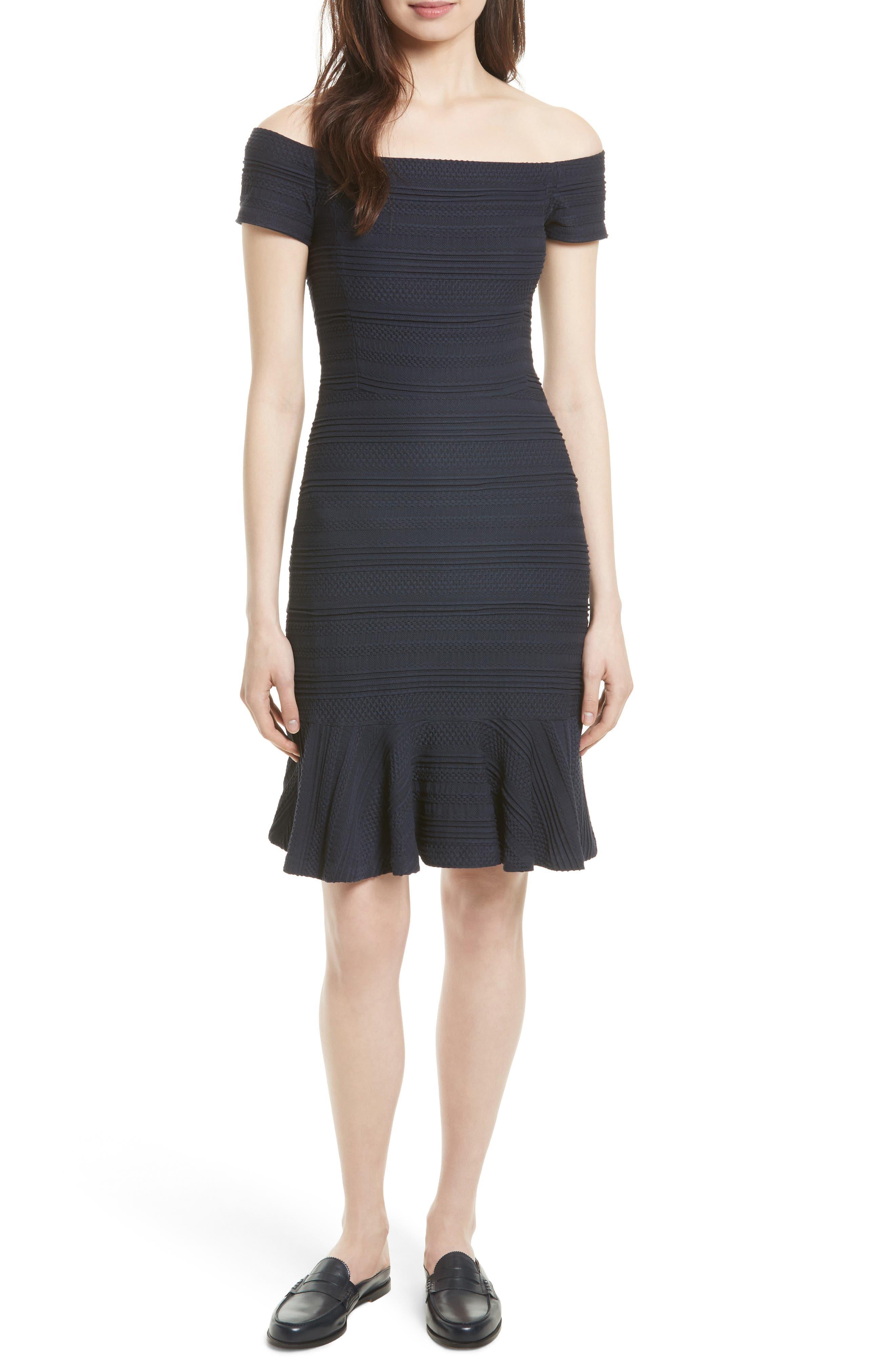 Off the Shoulder Textured Knit Dress,                         Main,                         color, Navy