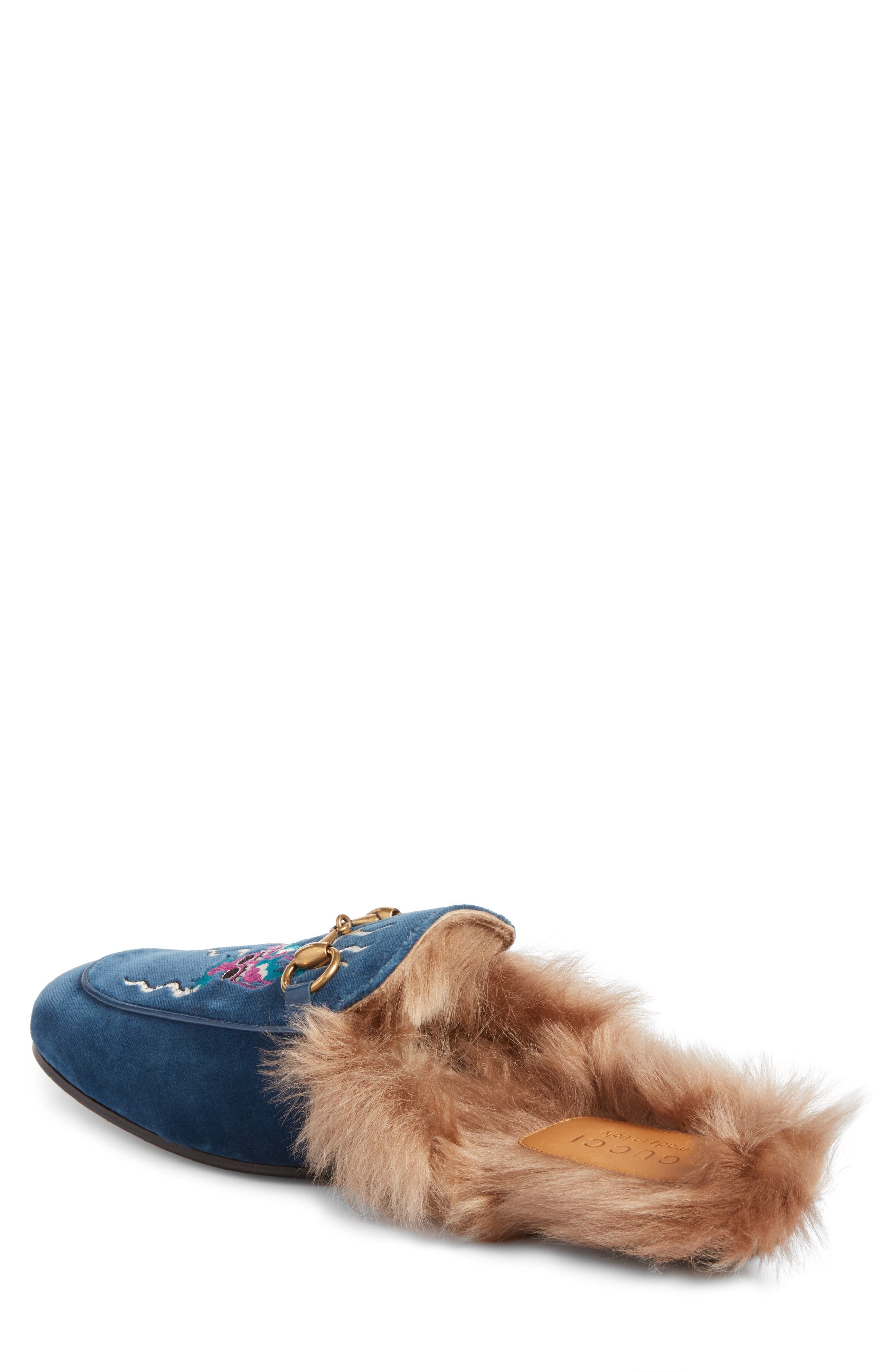 Princetown Genuine Shearling Lined Mule Loafer,                             Alternate thumbnail 2, color,                             Cobalt Multi