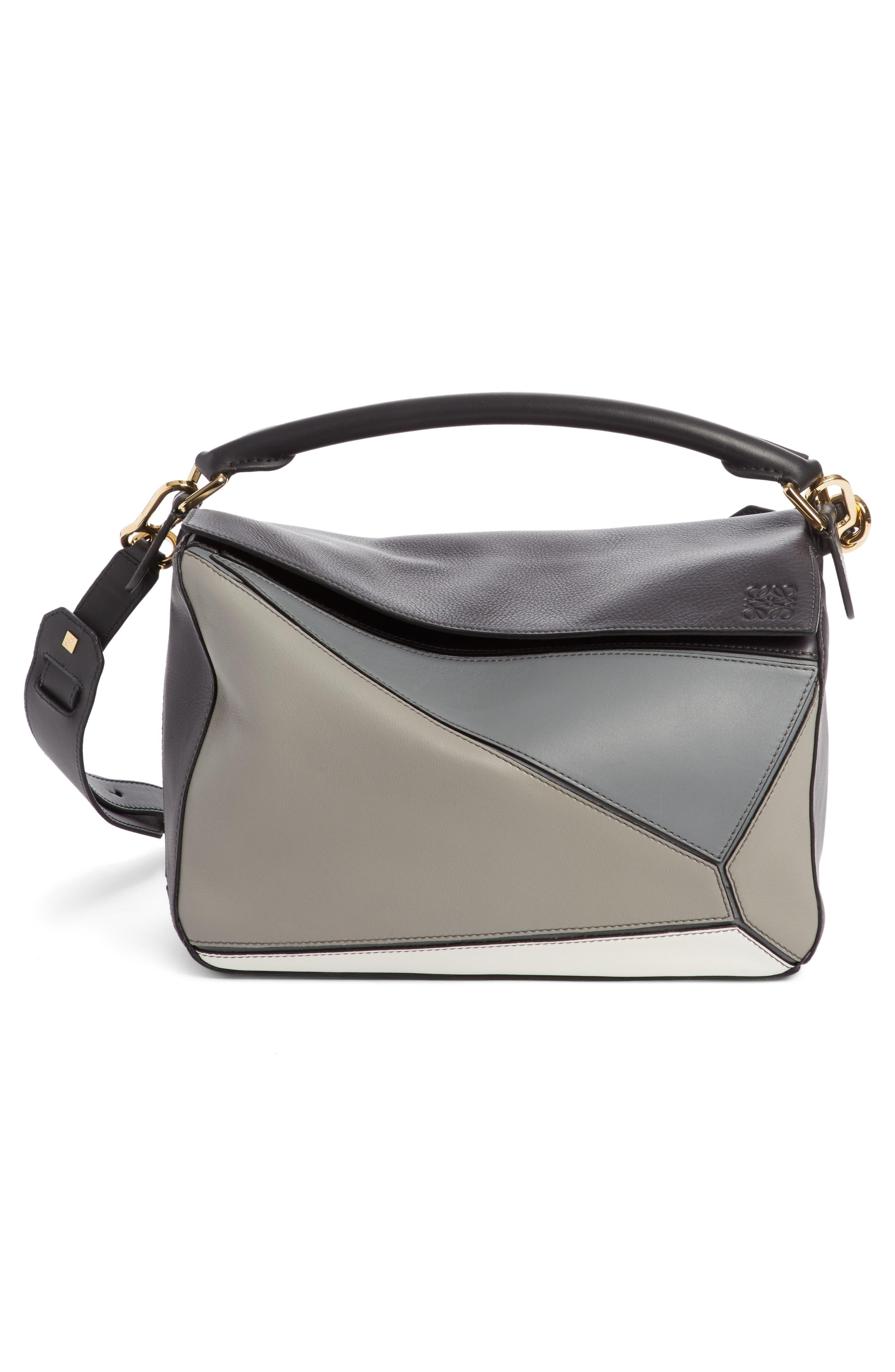 Medium Puzzle Colorblock Leather Shoulder Bag,                         Main,                         color, Grey Multi Tone