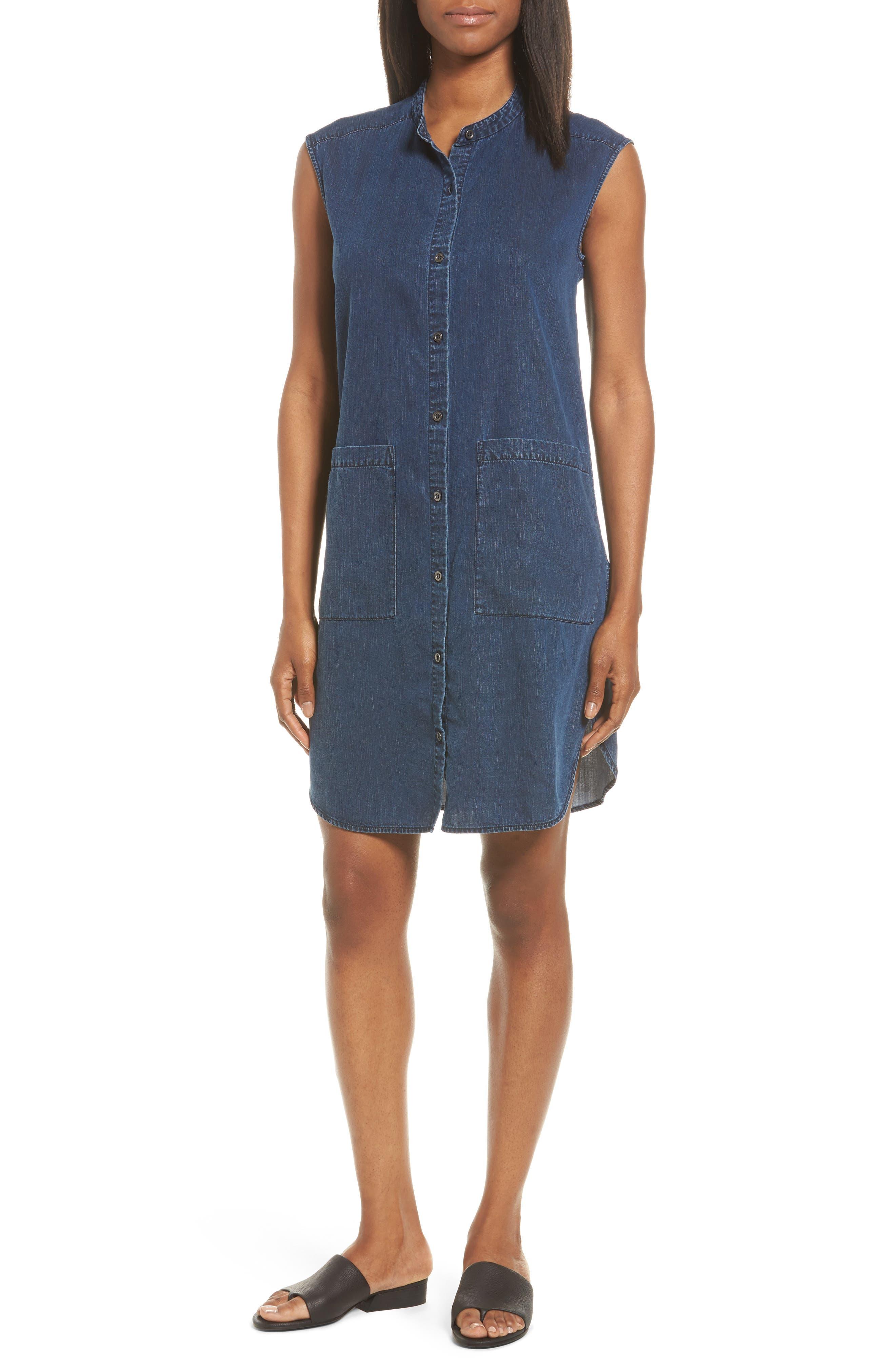 Eileen Fisher Lightweight Denim Shirtdress (Regular & Petite)