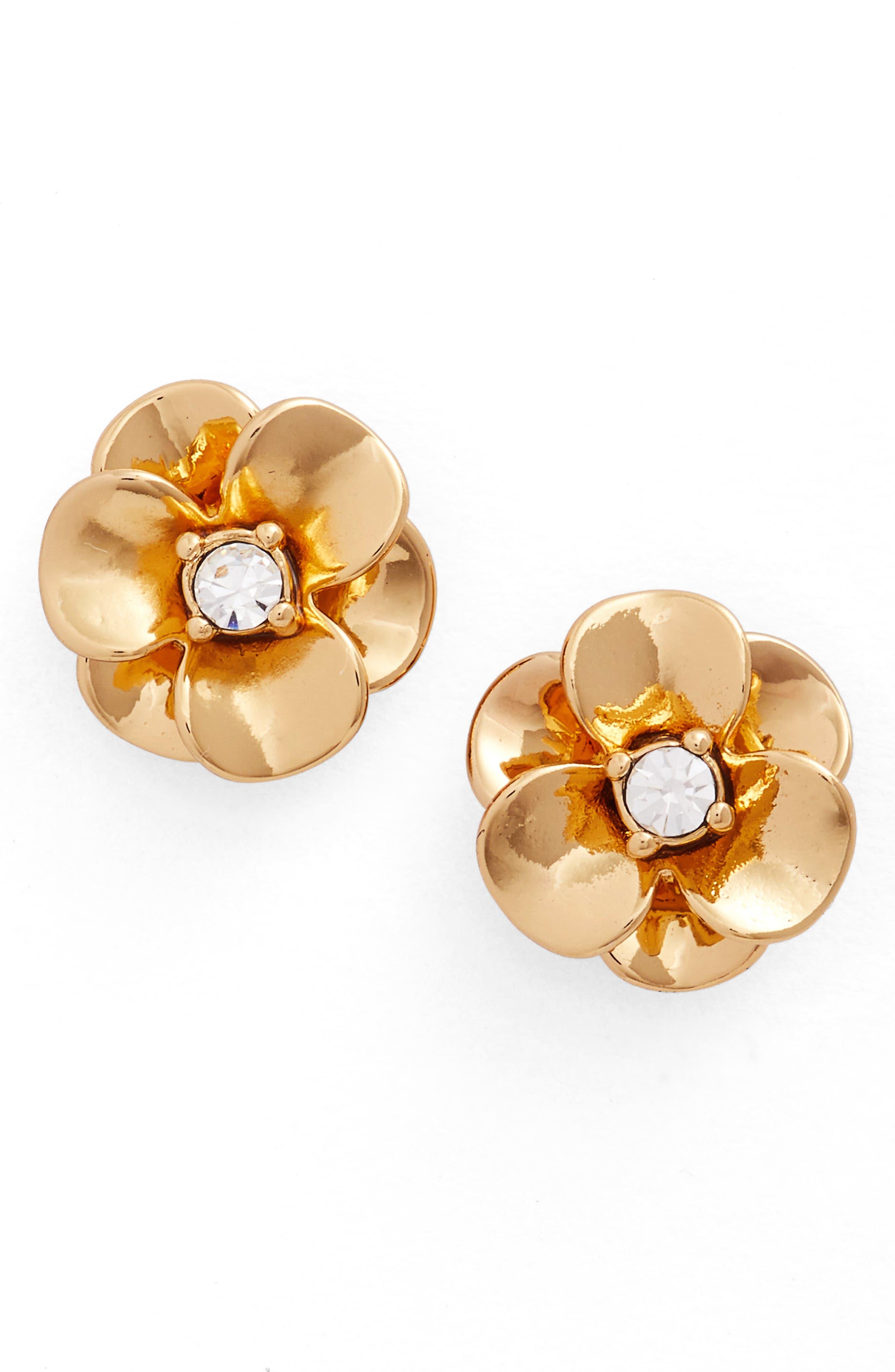 shine on flower stud earrings,                         Main,                         color, Gold