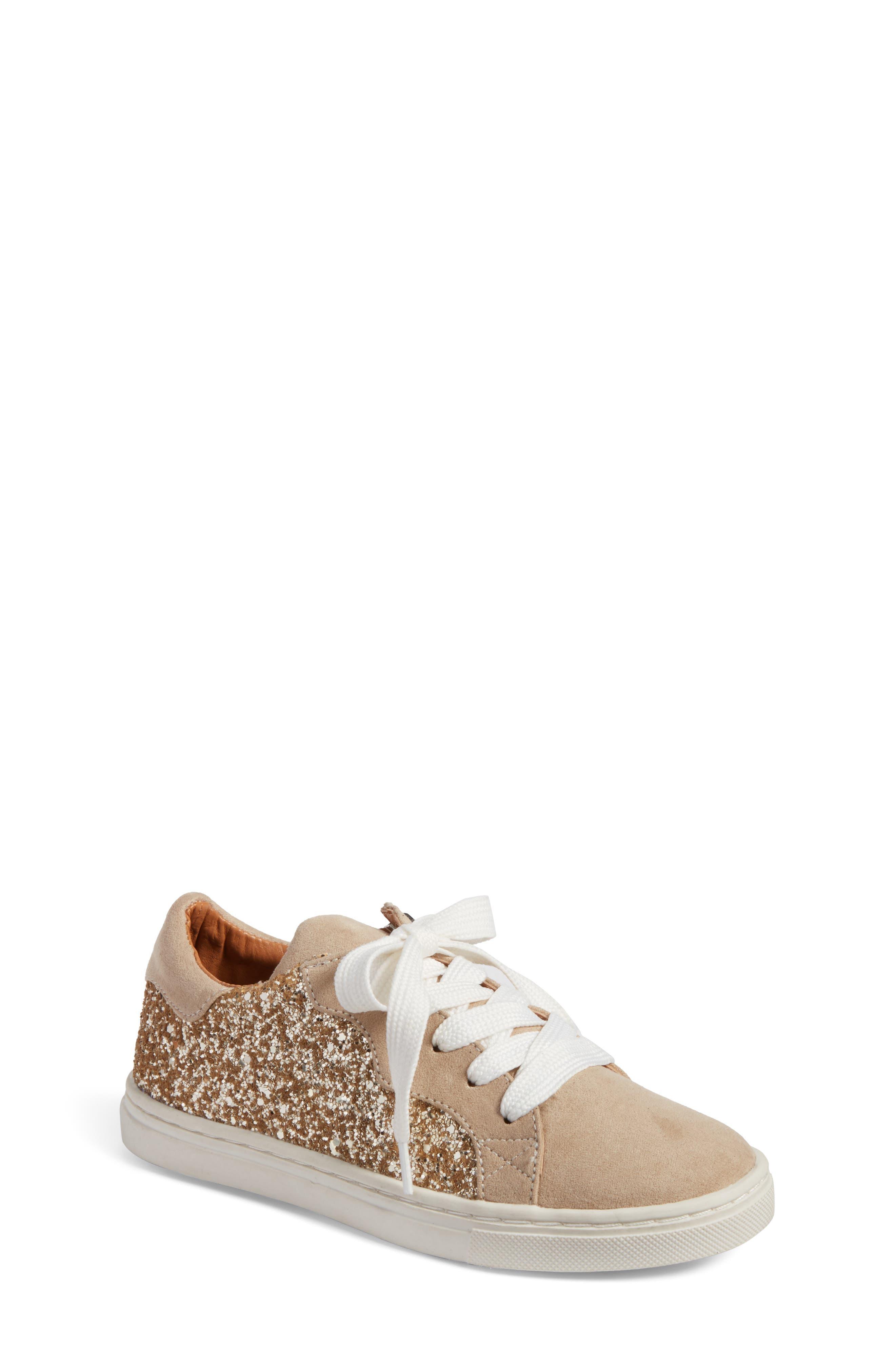 Zaida Low Top Sneaker,                             Main thumbnail 1, color,                             Gold Glitter