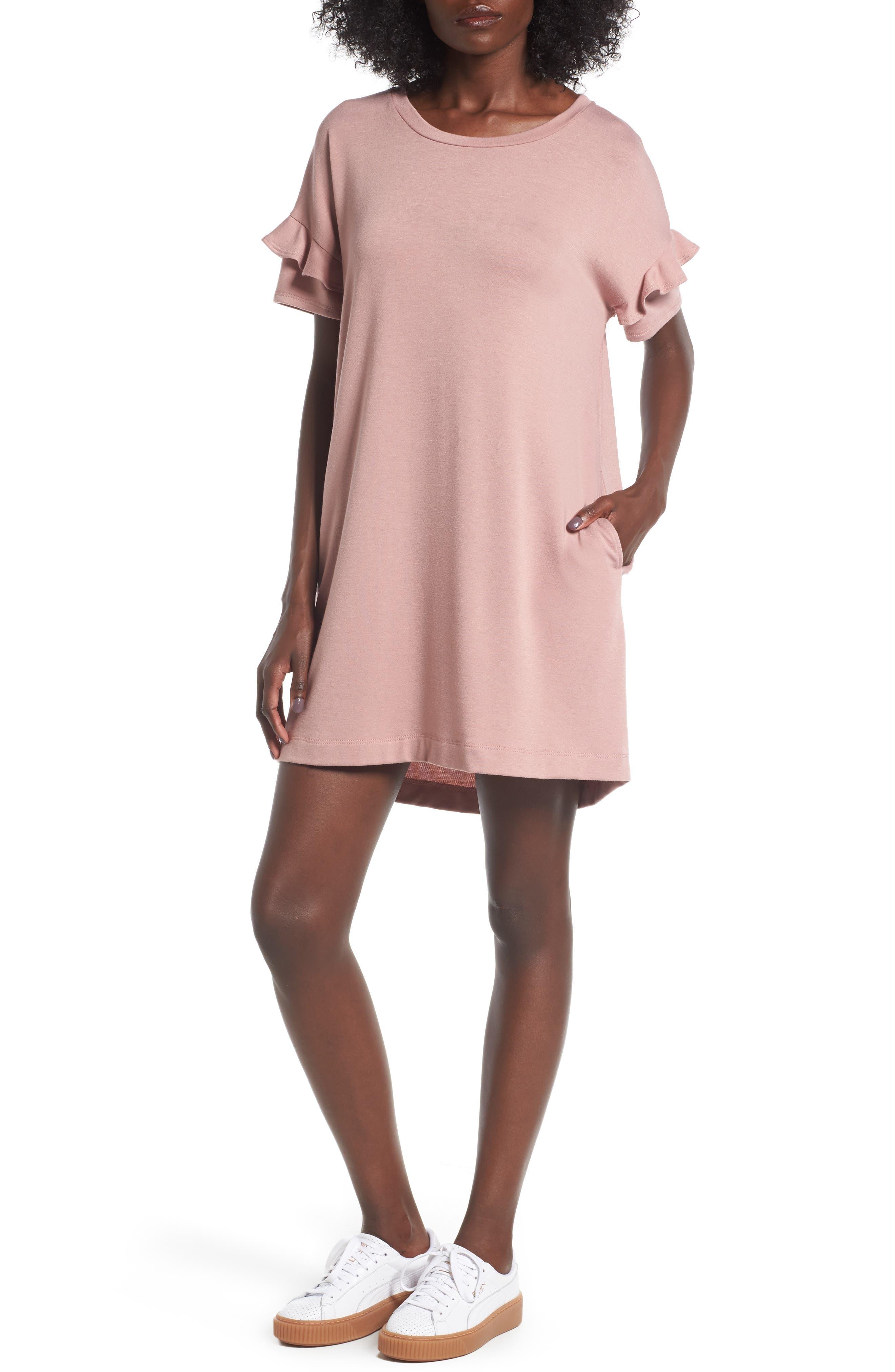 Lush Ruffle Sleeve T-Shirt Dress